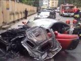 Ferrari California burns in Warsaw