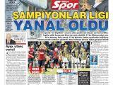 Fenerbahçe - Arsenal Maçı Gazetele Manşetleri