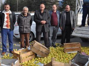 Kasa Kasa Elmaları Fabrika Önüne Döktüler