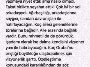 Ülkerden Duygusal Mustafa Koç Tweeti