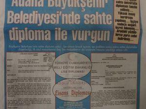 Adana Büyükşehir Belediyesinde Sahte Diploma Vurgunu İddiası