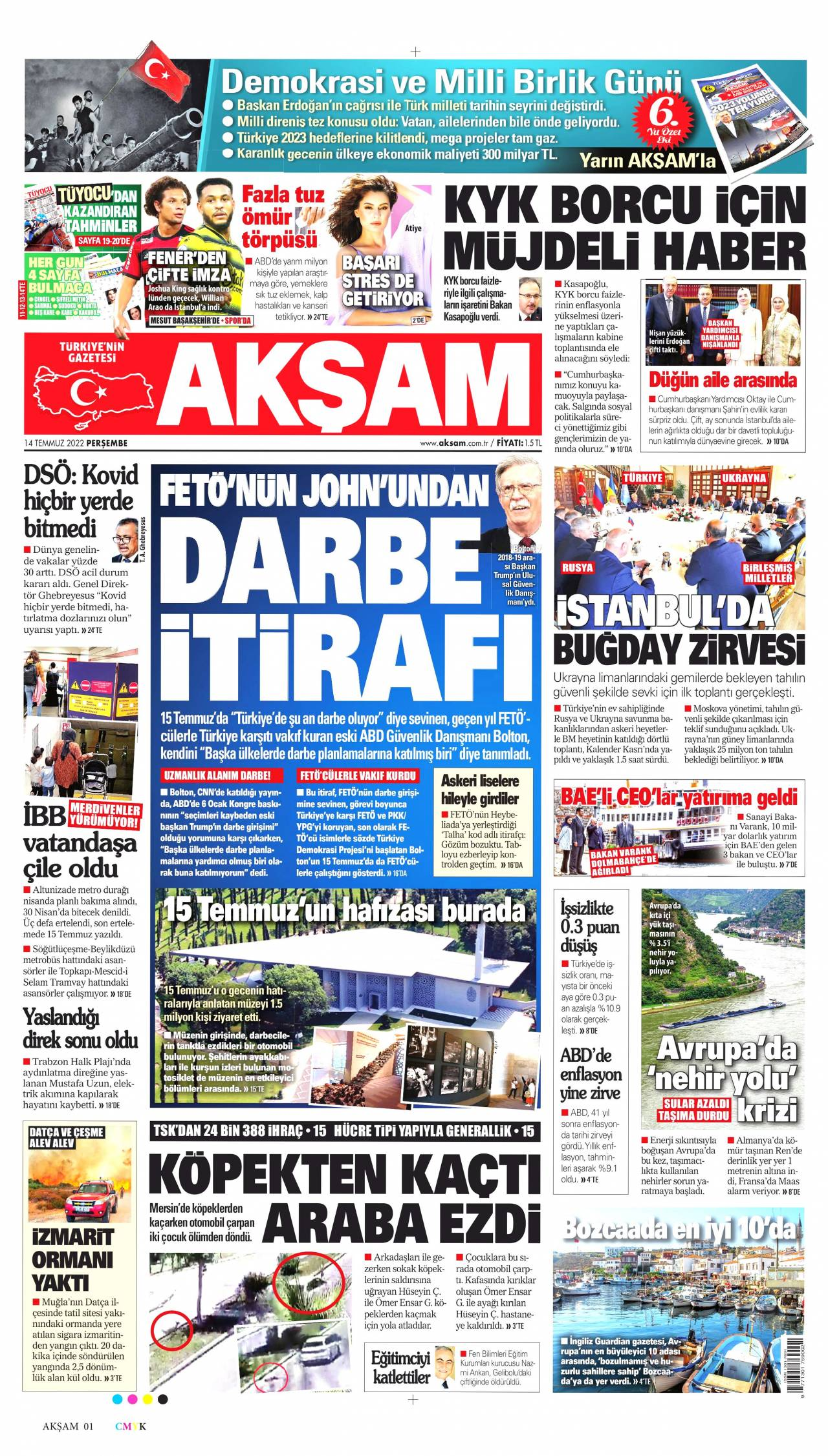 19 Şubat 2020, Çarşamba aksam Gazetesi