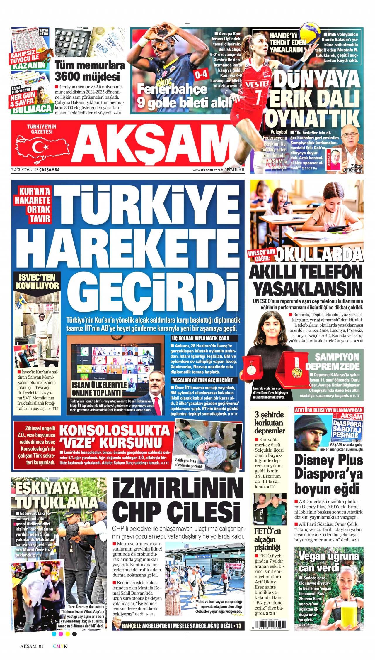 25 Ocak 2020, Cumartesi aksam Gazetesi