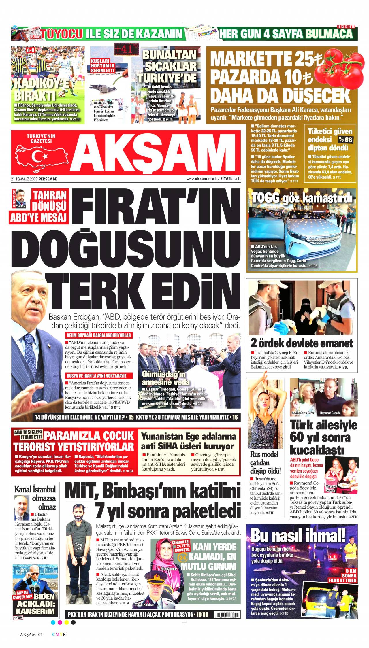23 Eylül 2020, Çarşamba aksam Gazetesi