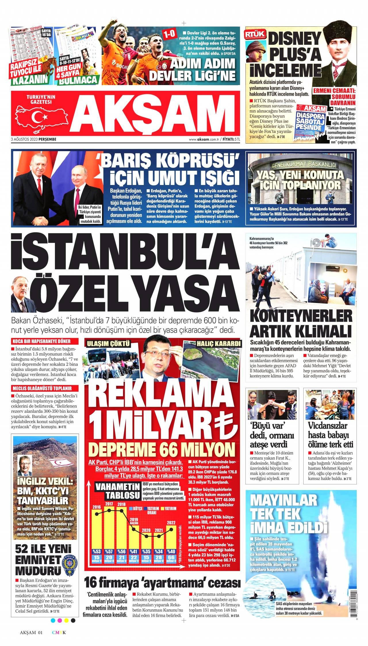 22 Ocak 2020, Çarşamba aksam Gazetesi