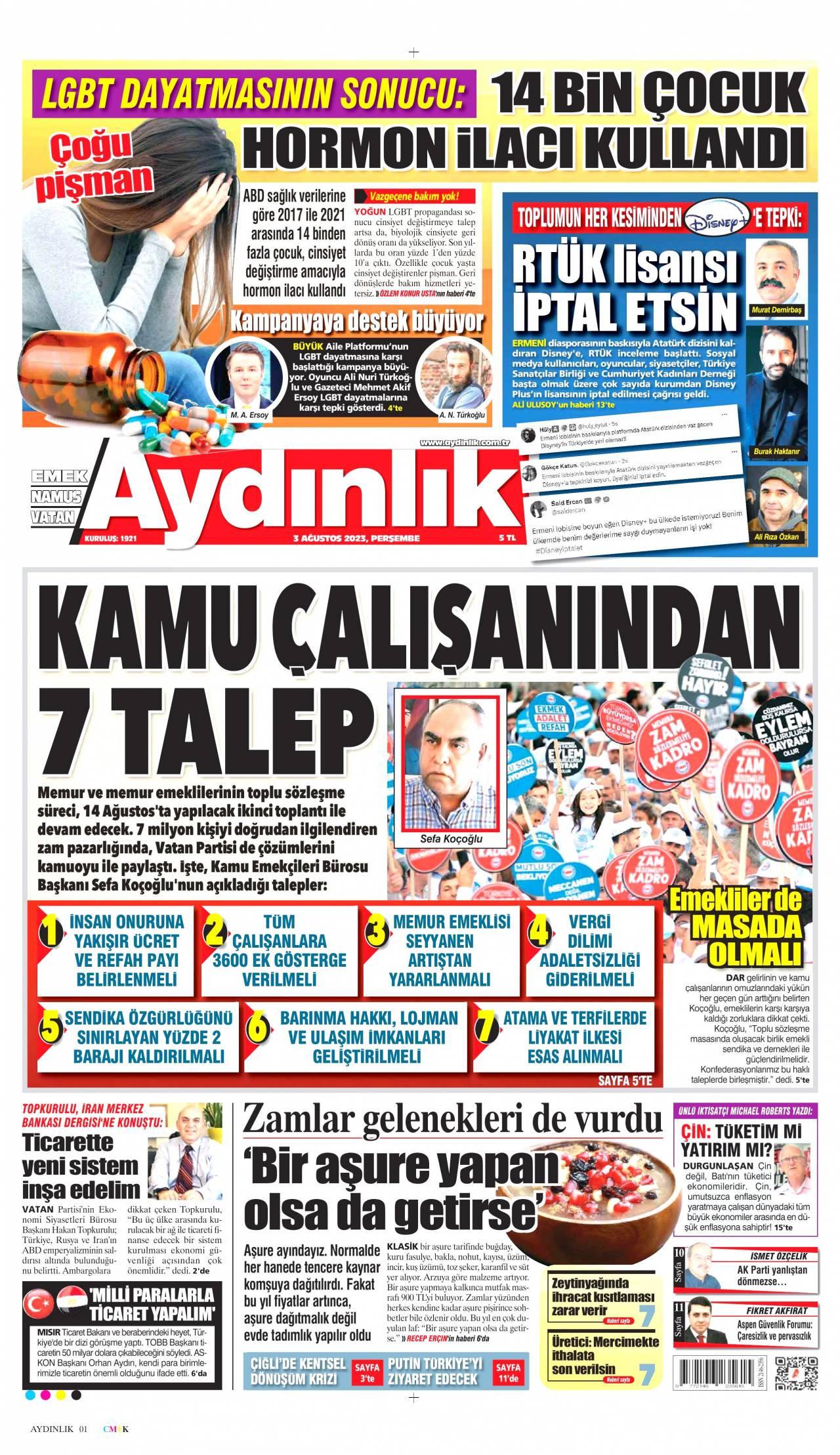 23.06.2017 tarihli Aydınlık gazetesinin 1. sayfası