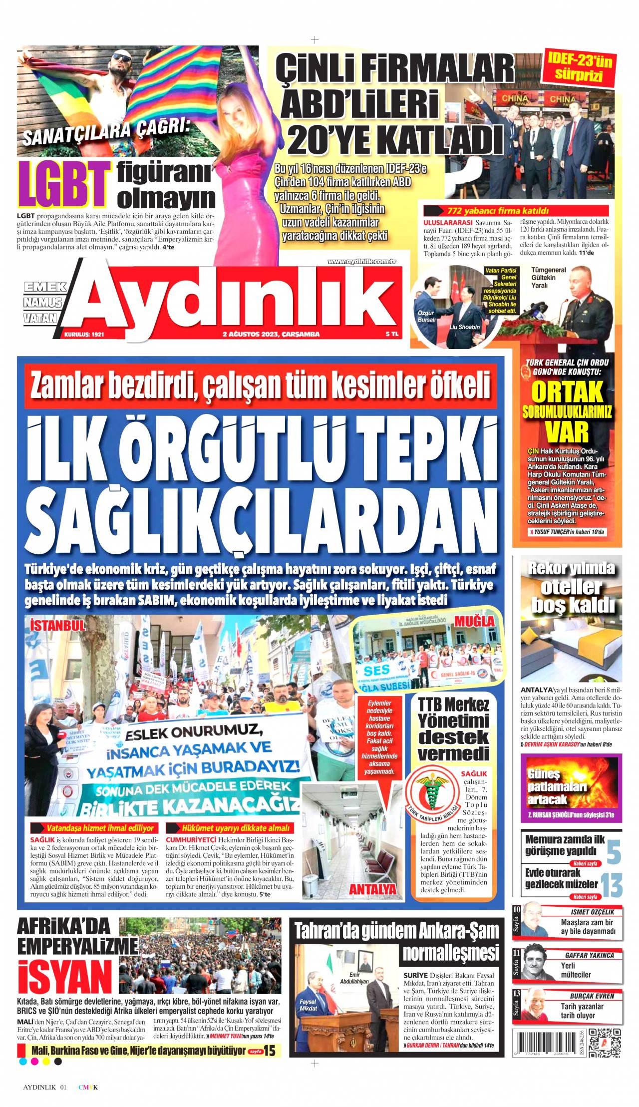 19 Eylül 2019, Perşembe aydinlik Gazetesi
