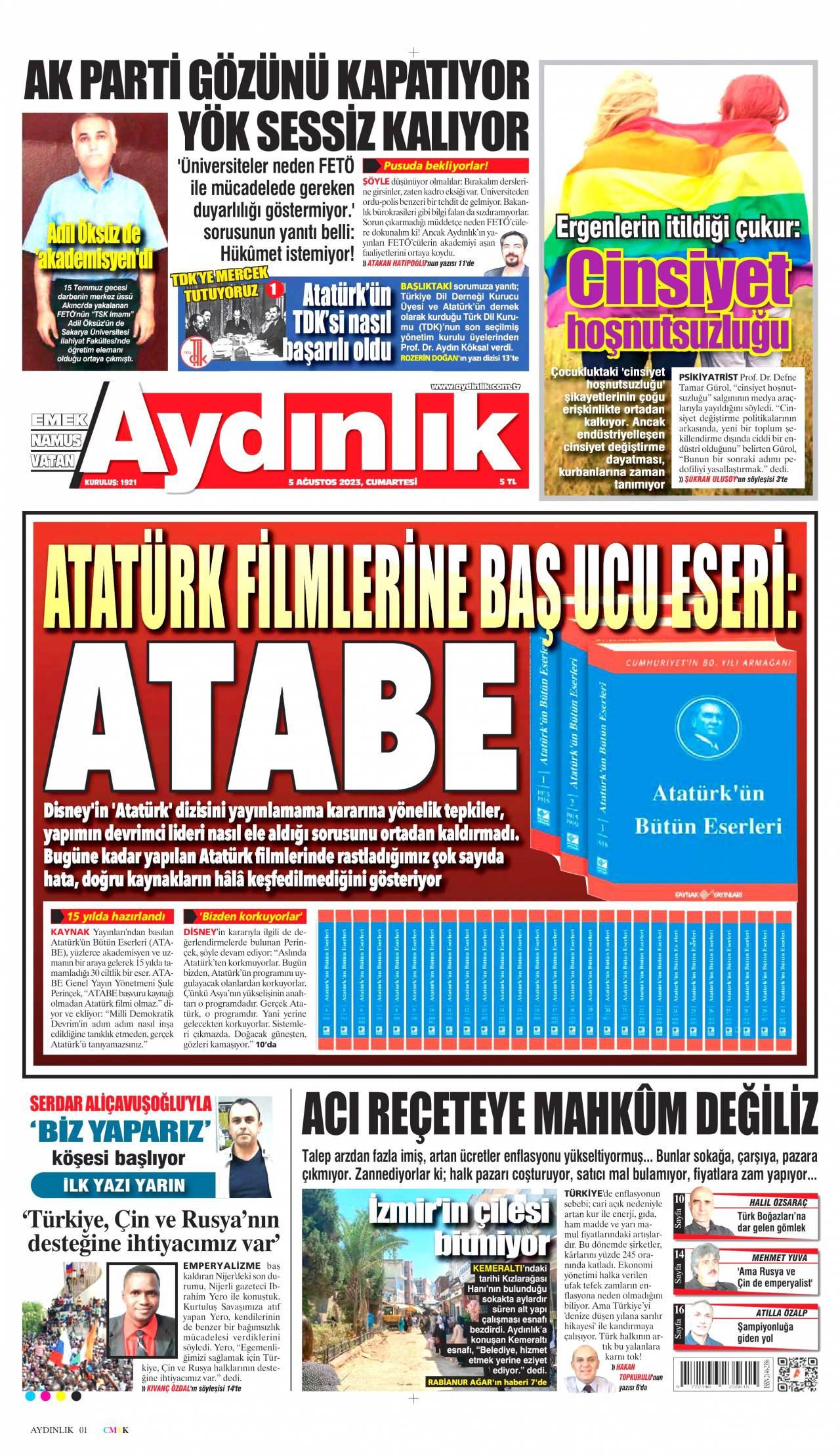 12 Ağustos 2020, Çarşamba aydinlik Gazetesi
