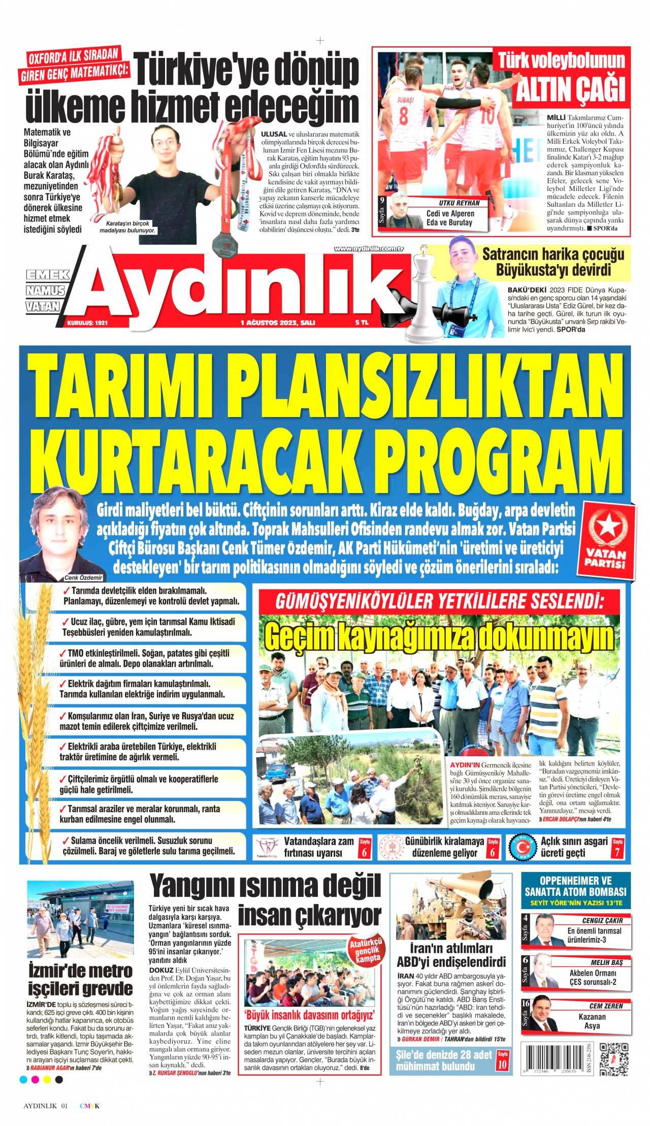 23 Ağustos 2019, Cuma aydinlik Gazetesi