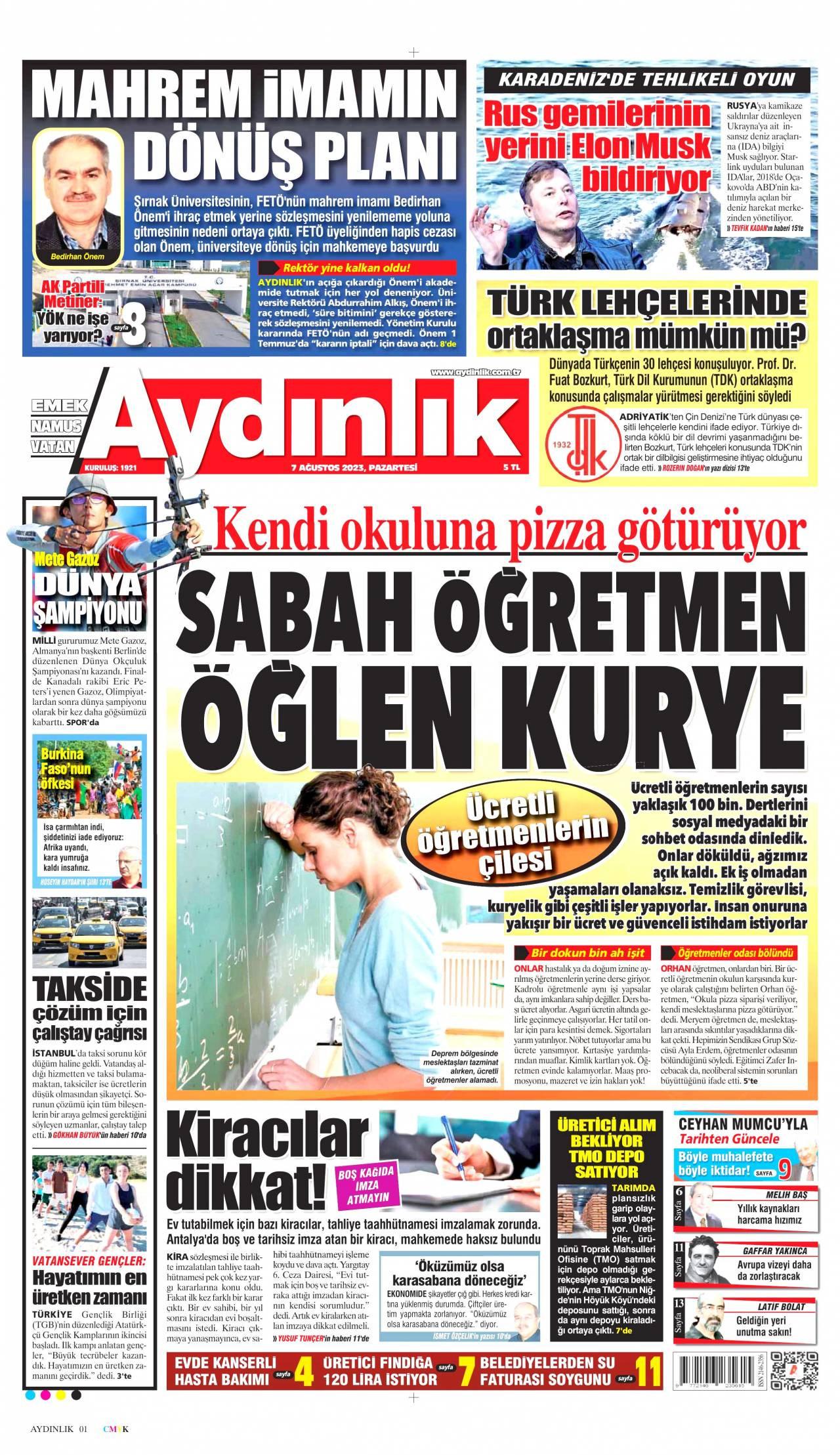 27 Ocak 2021, Çarşamba aydinlik Gazetesi