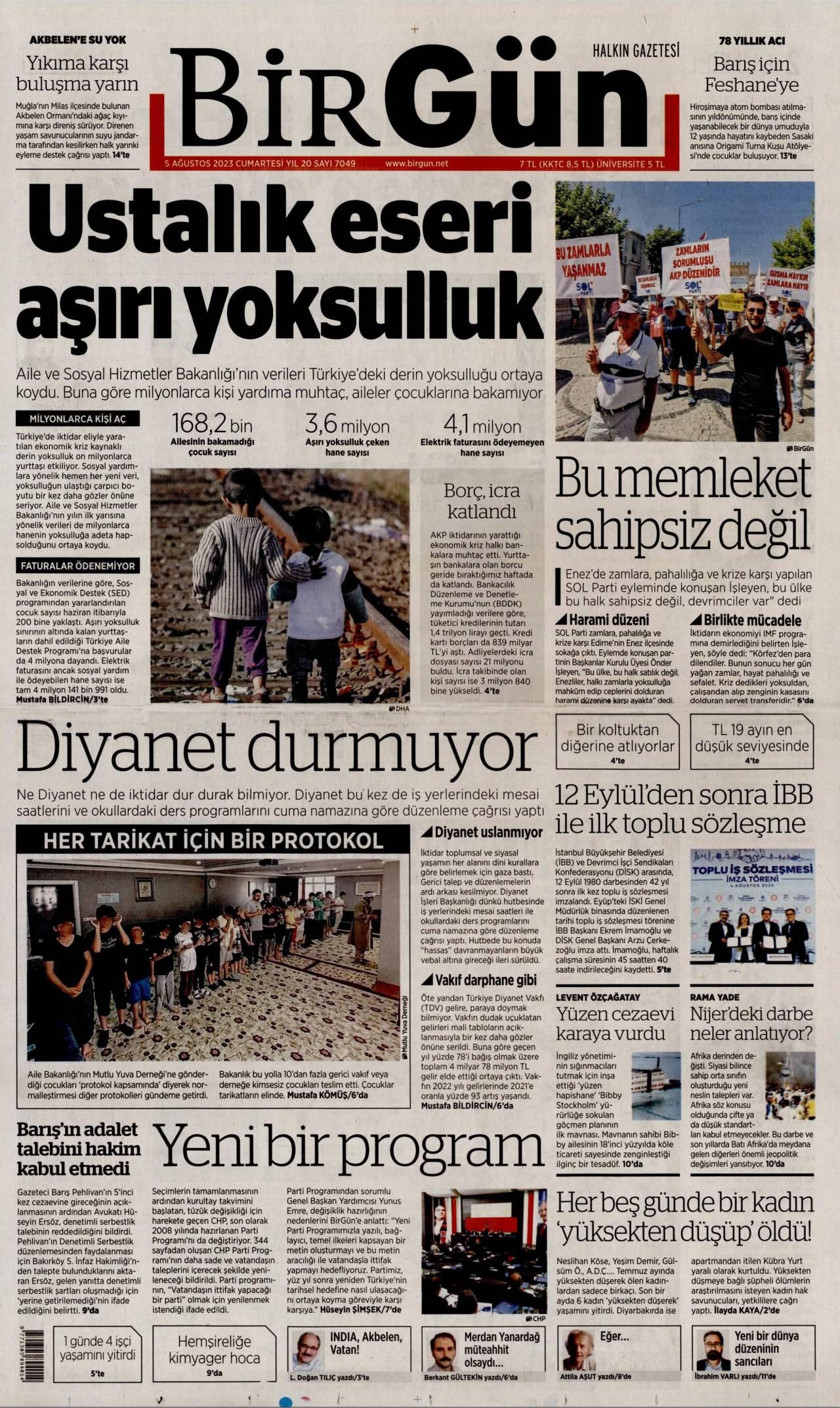23 Temmuz 2019, Salı birgun Gazetesi