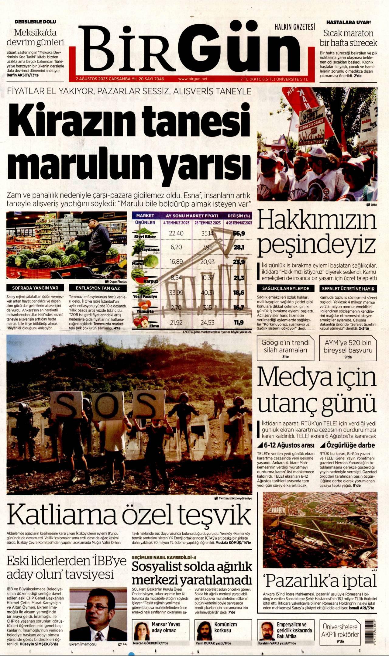 12 Ağustos 2020, Çarşamba birgun Gazetesi
