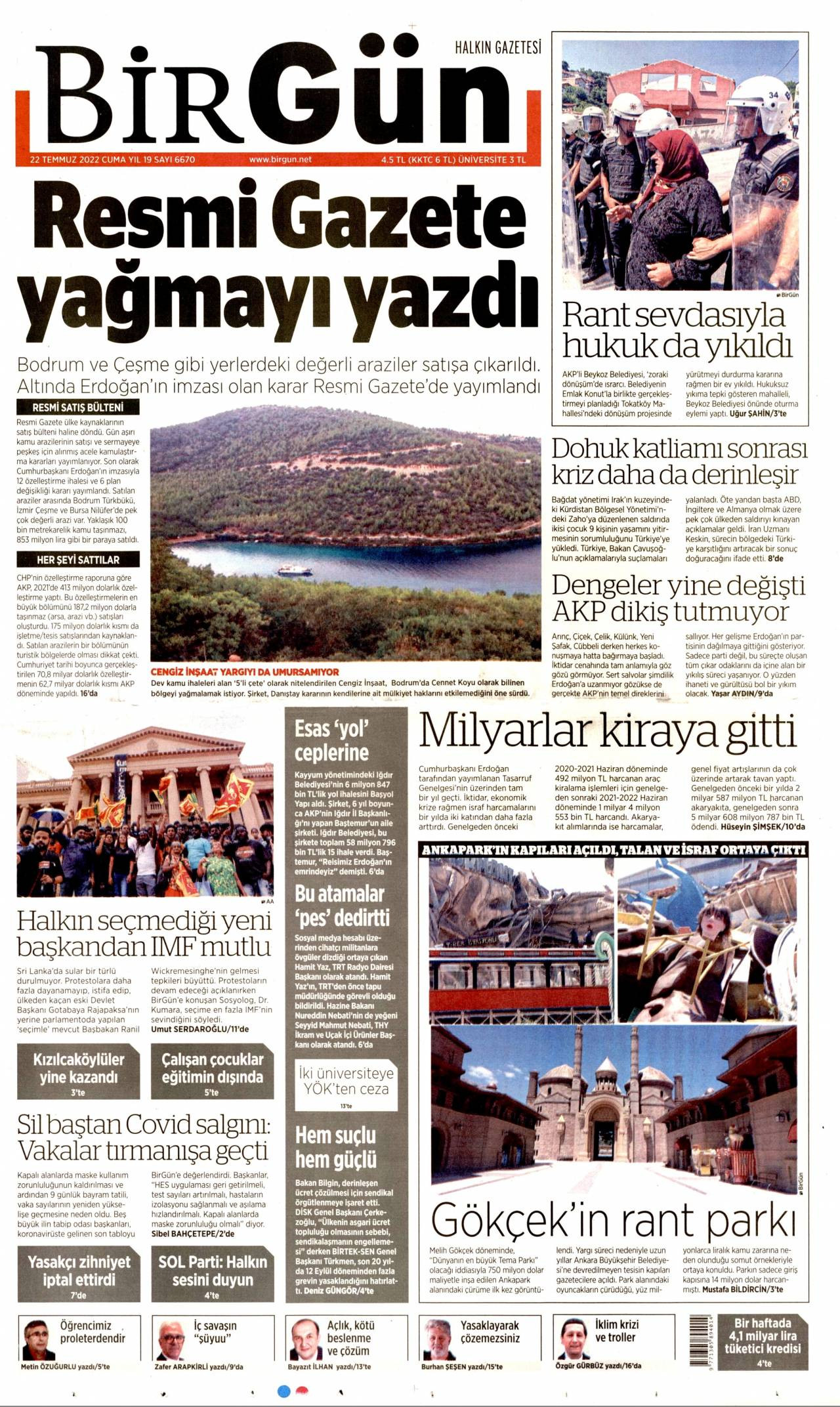 23 Ağustos 2019, Cuma birgun Gazetesi