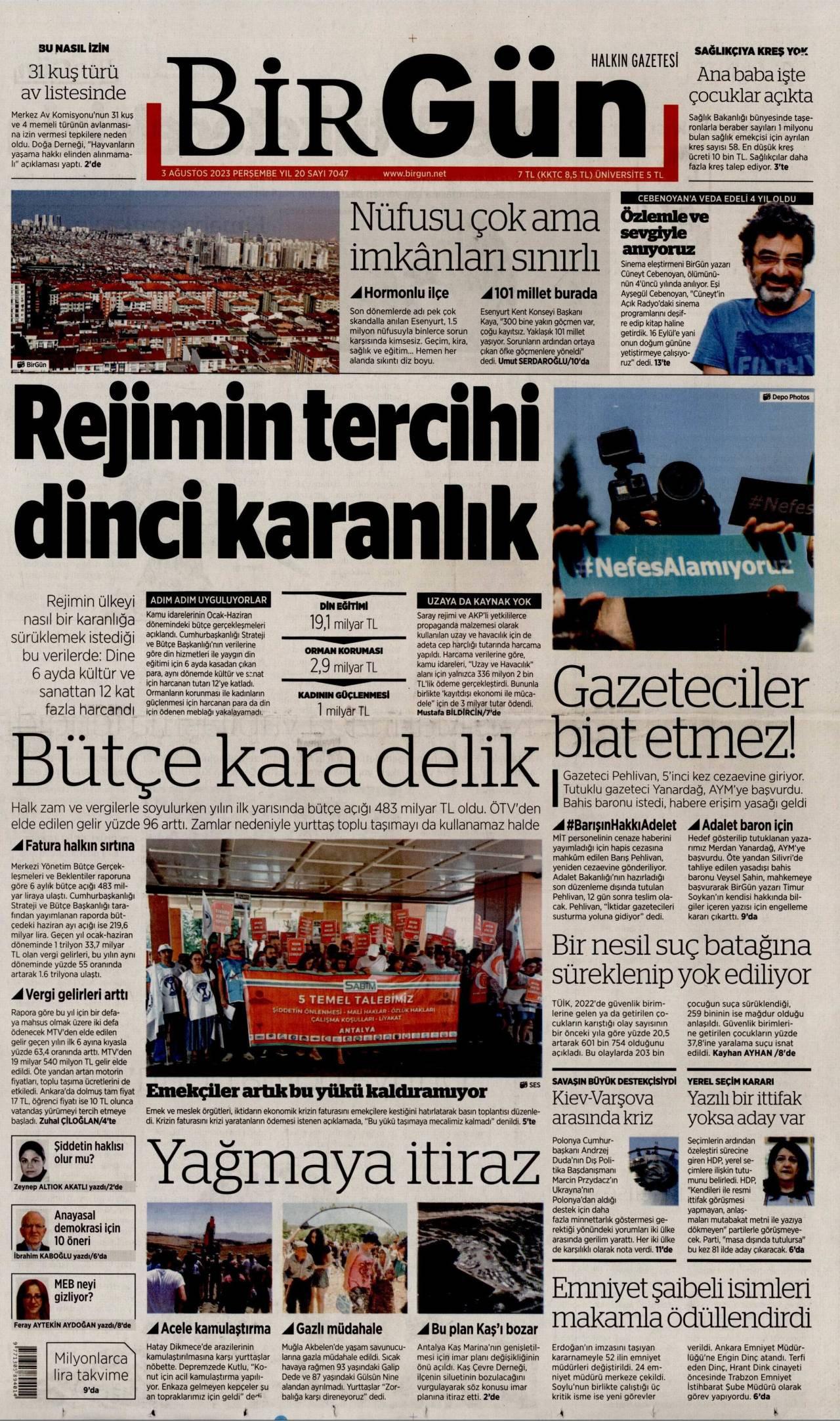26 Şubat 2020, Çarşamba birgun Gazetesi