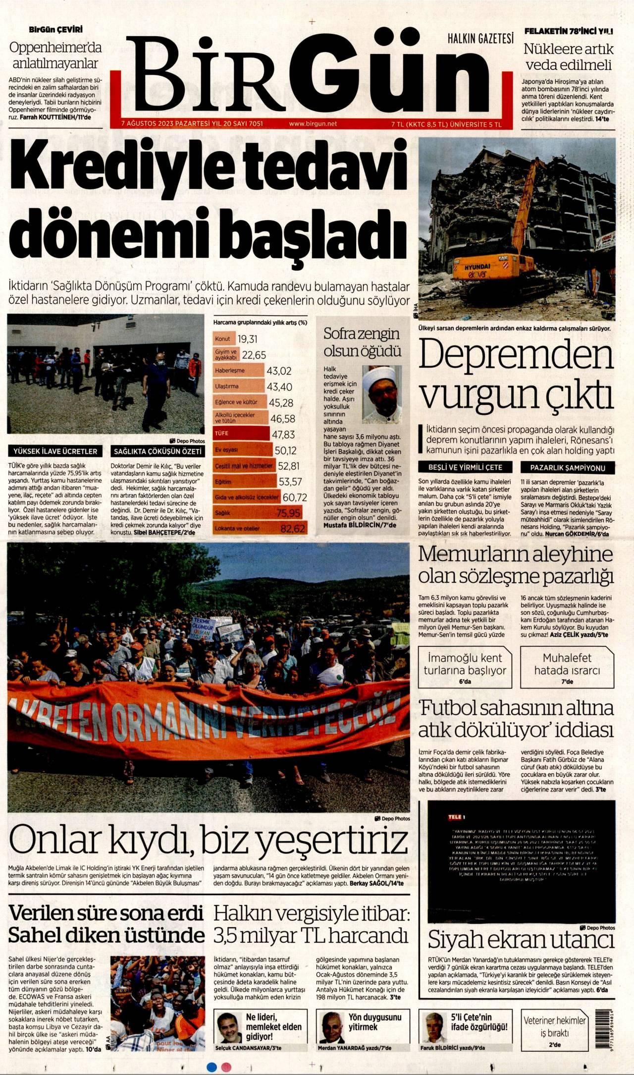 23 Eylül 2020, Çarşamba birgun Gazetesi