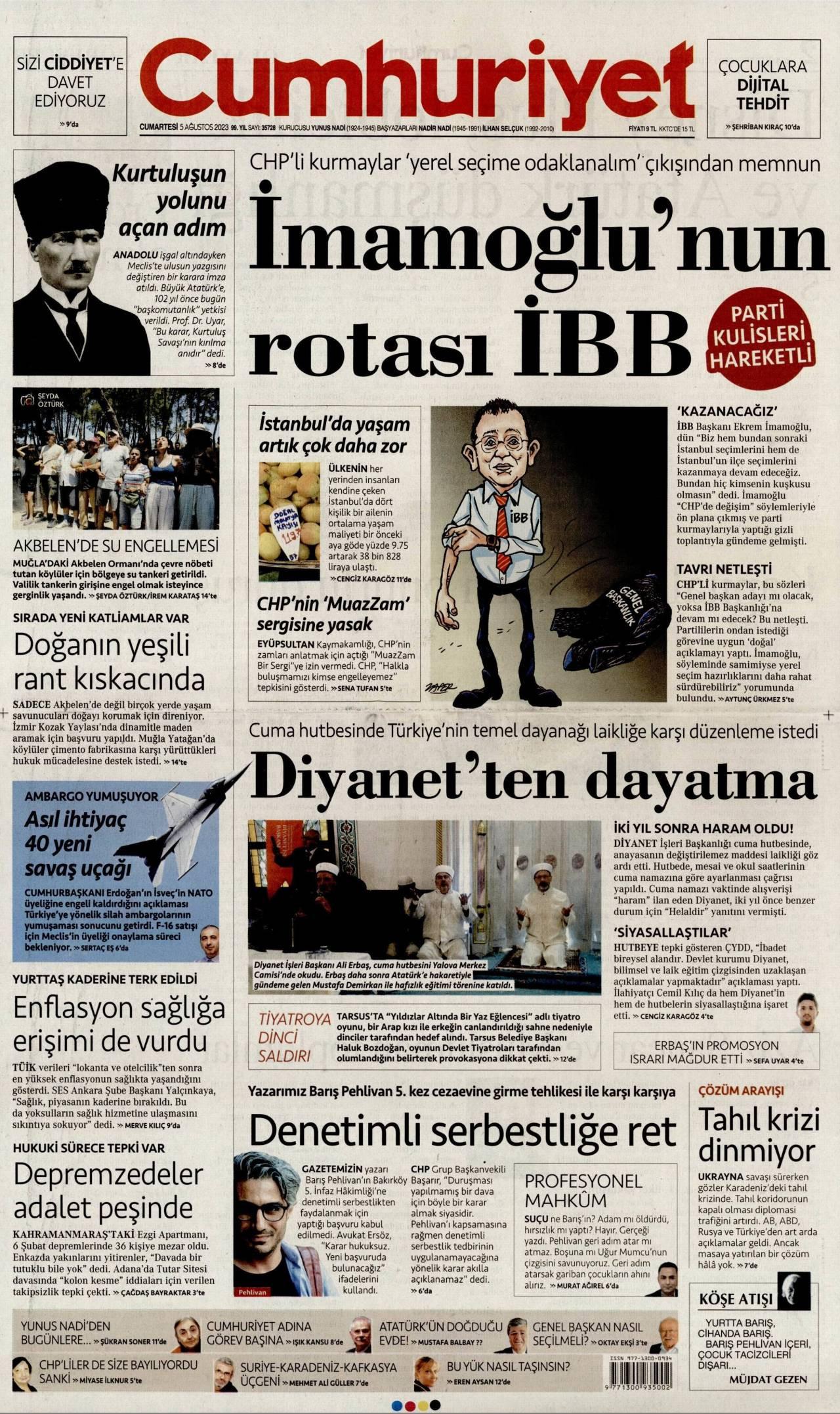 12 Ağustos 2020, Çarşamba cumhuriyet Gazetesi