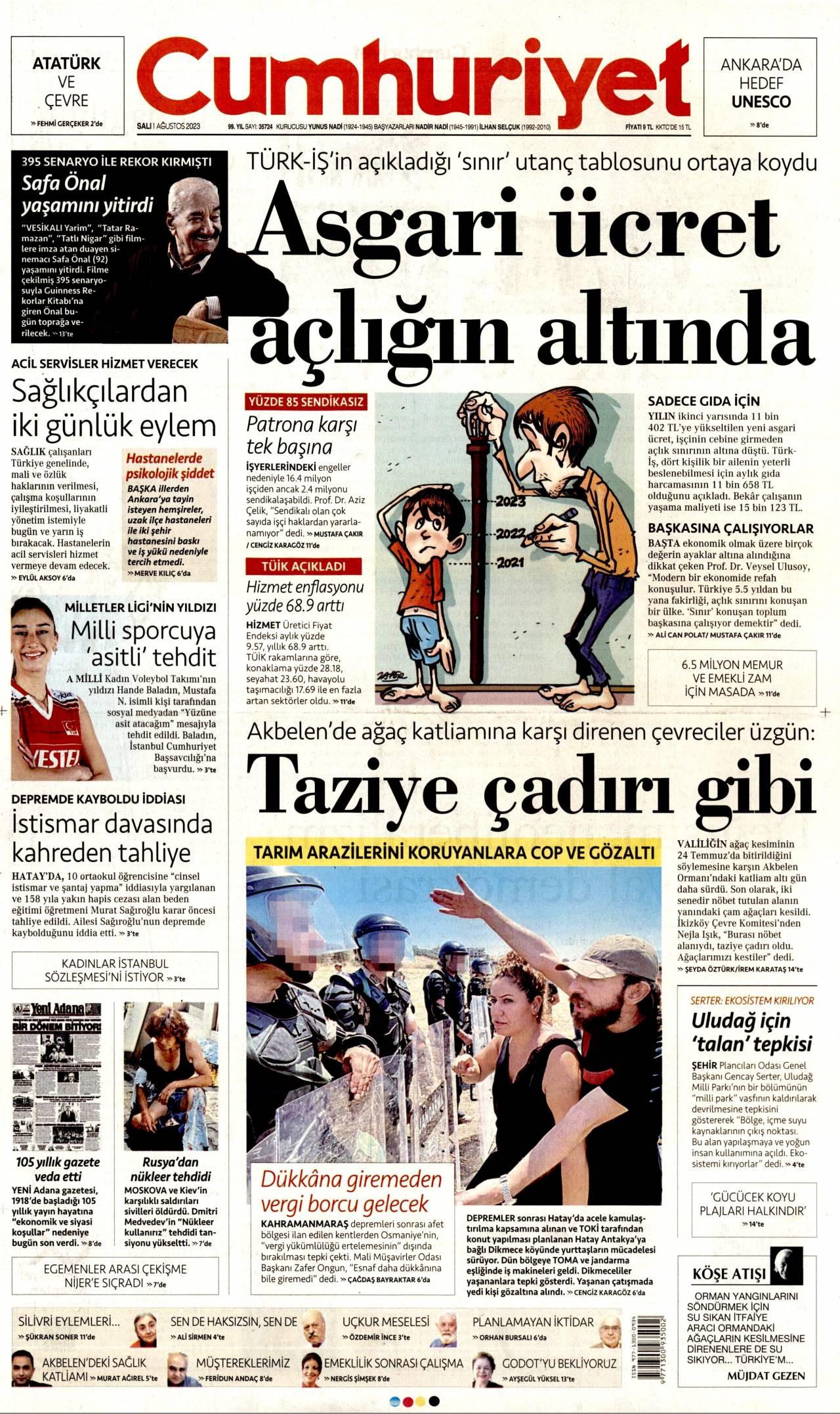 1 Haziran 2020, Pazartesi cumhuriyet Gazetesi