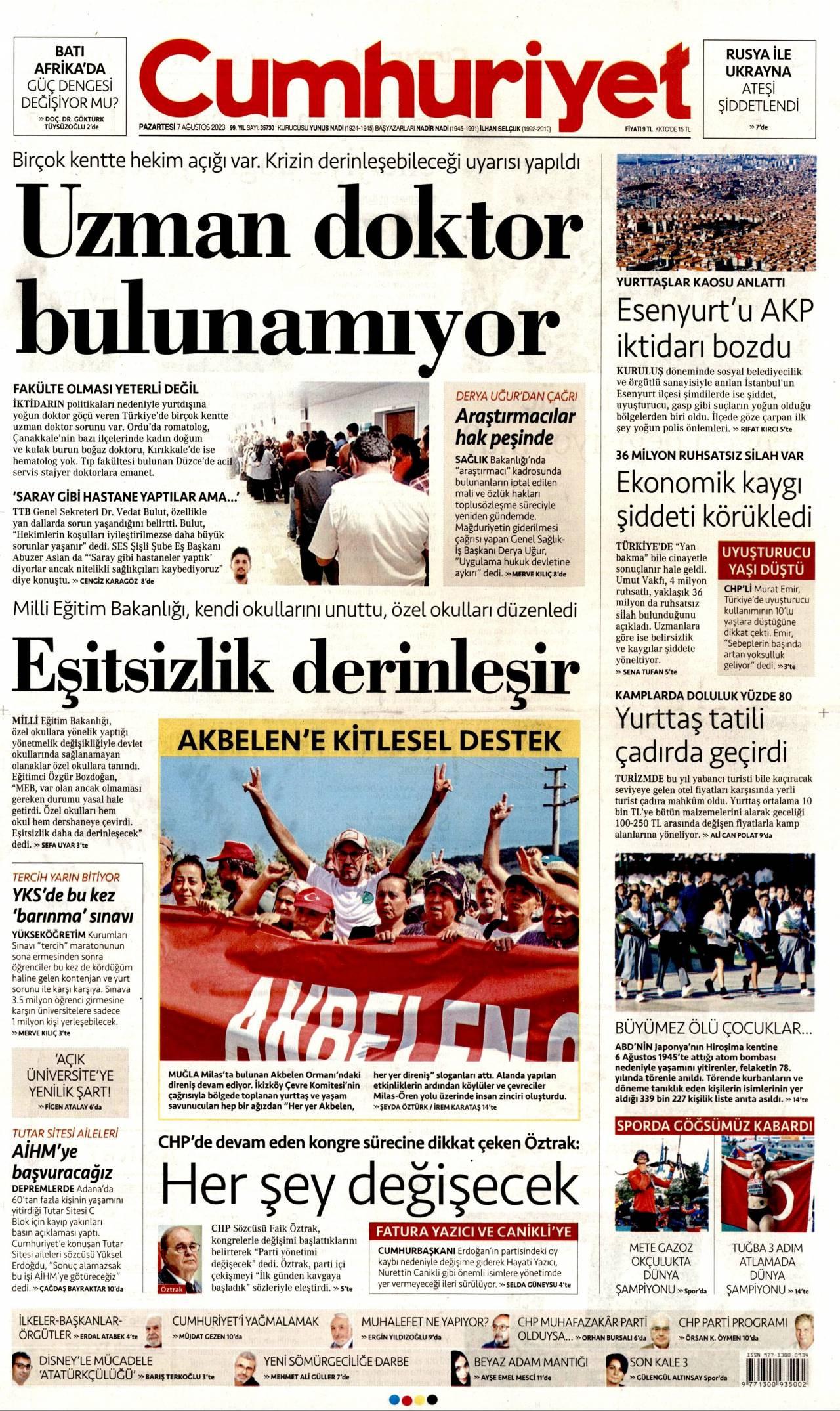 20 Temmuz 2019, Cumartesi cumhuriyet Gazetesi