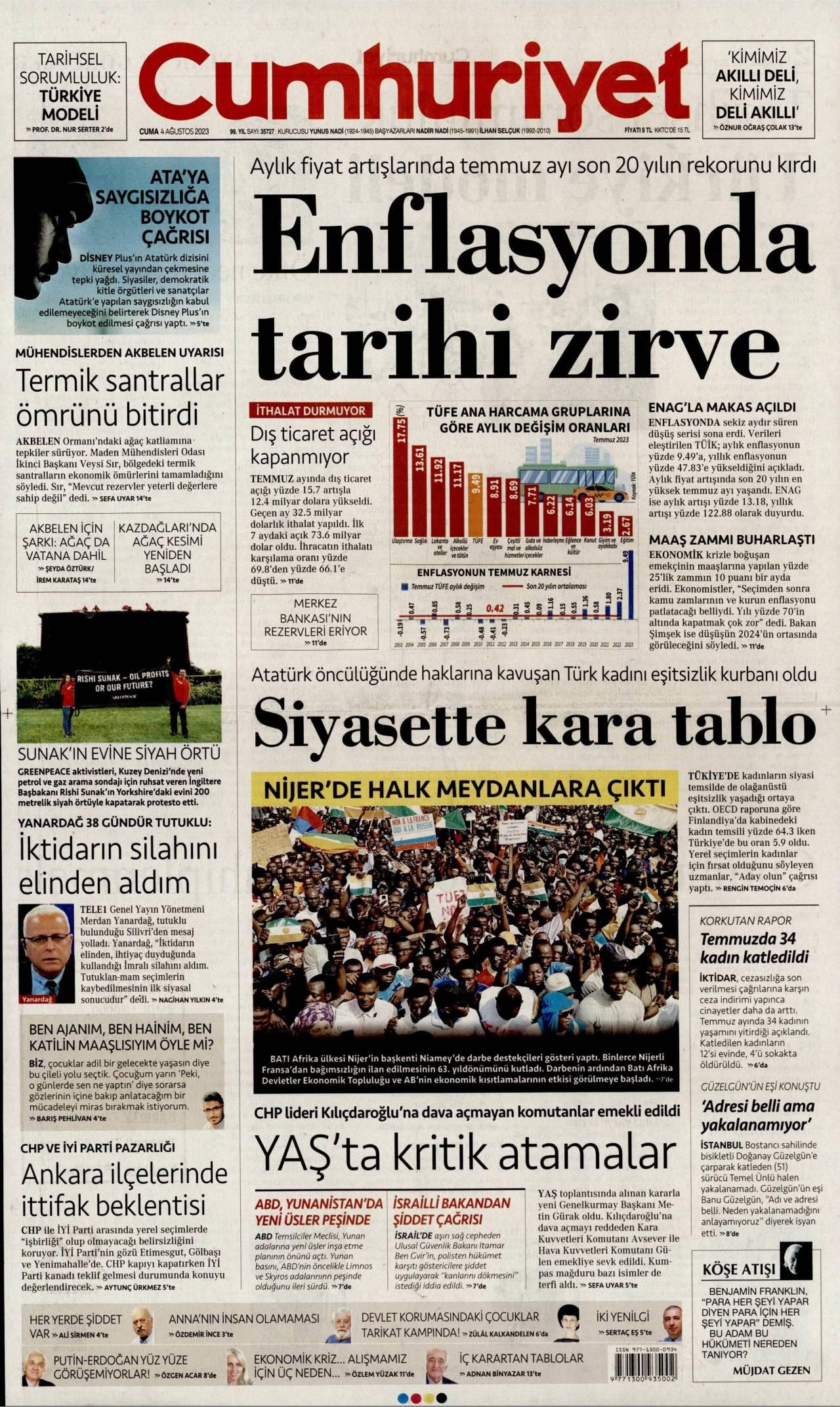 19 Ağustos 2019, Pazartesi cumhuriyet Gazetesi