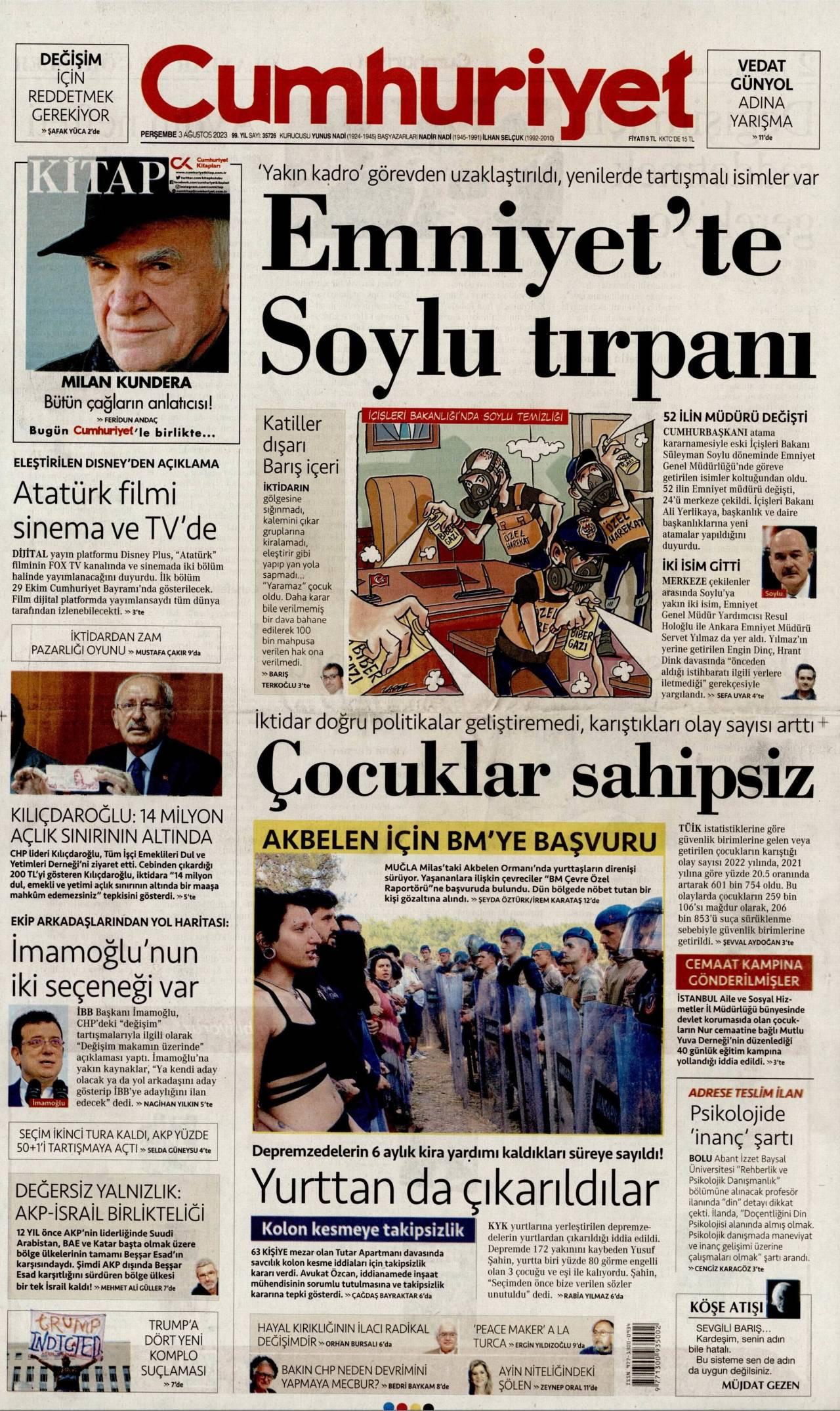 23 Ağustos 2019, Cuma cumhuriyet Gazetesi