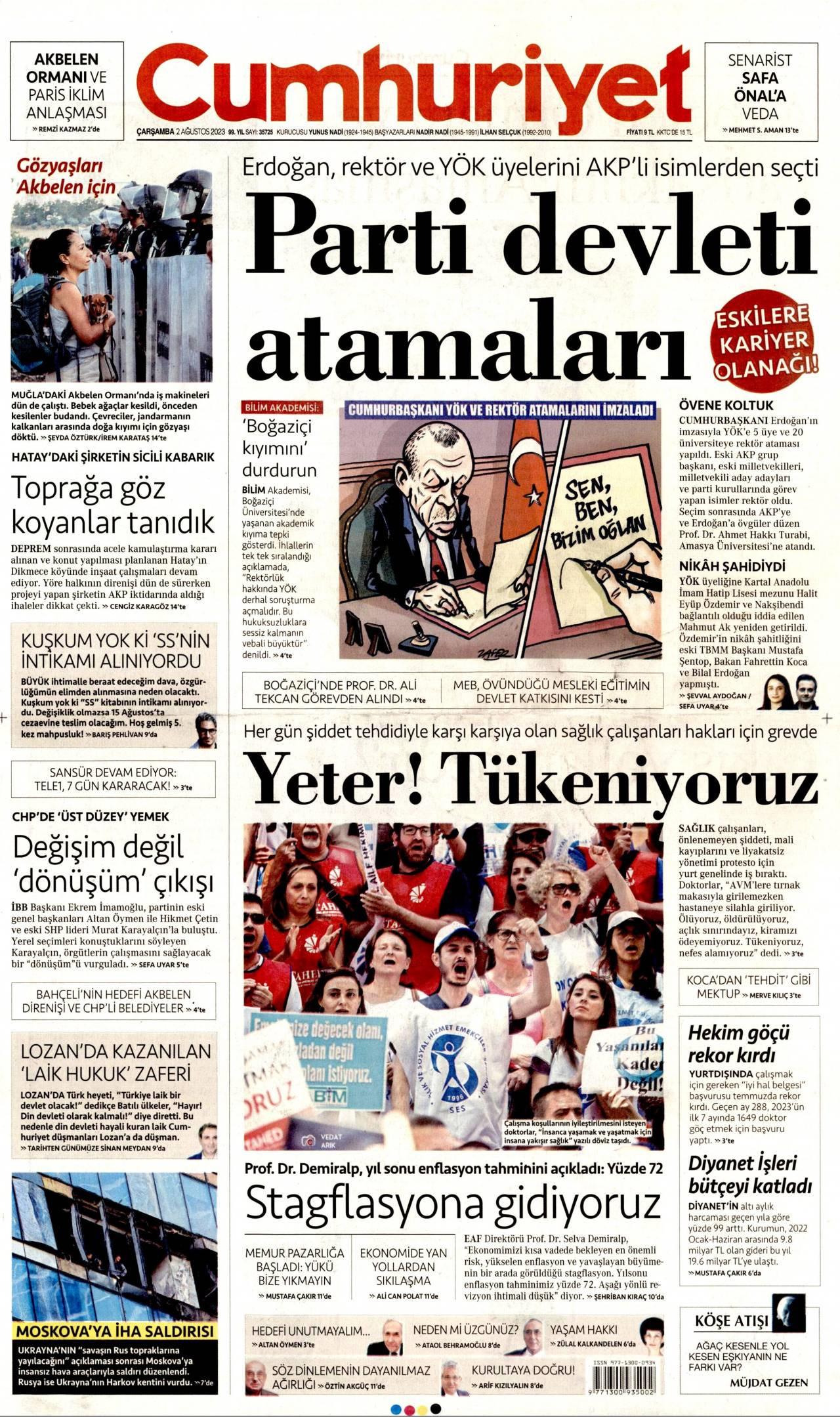 22 Mayıs 2019, Çarşamba cumhuriyet Gazetesi