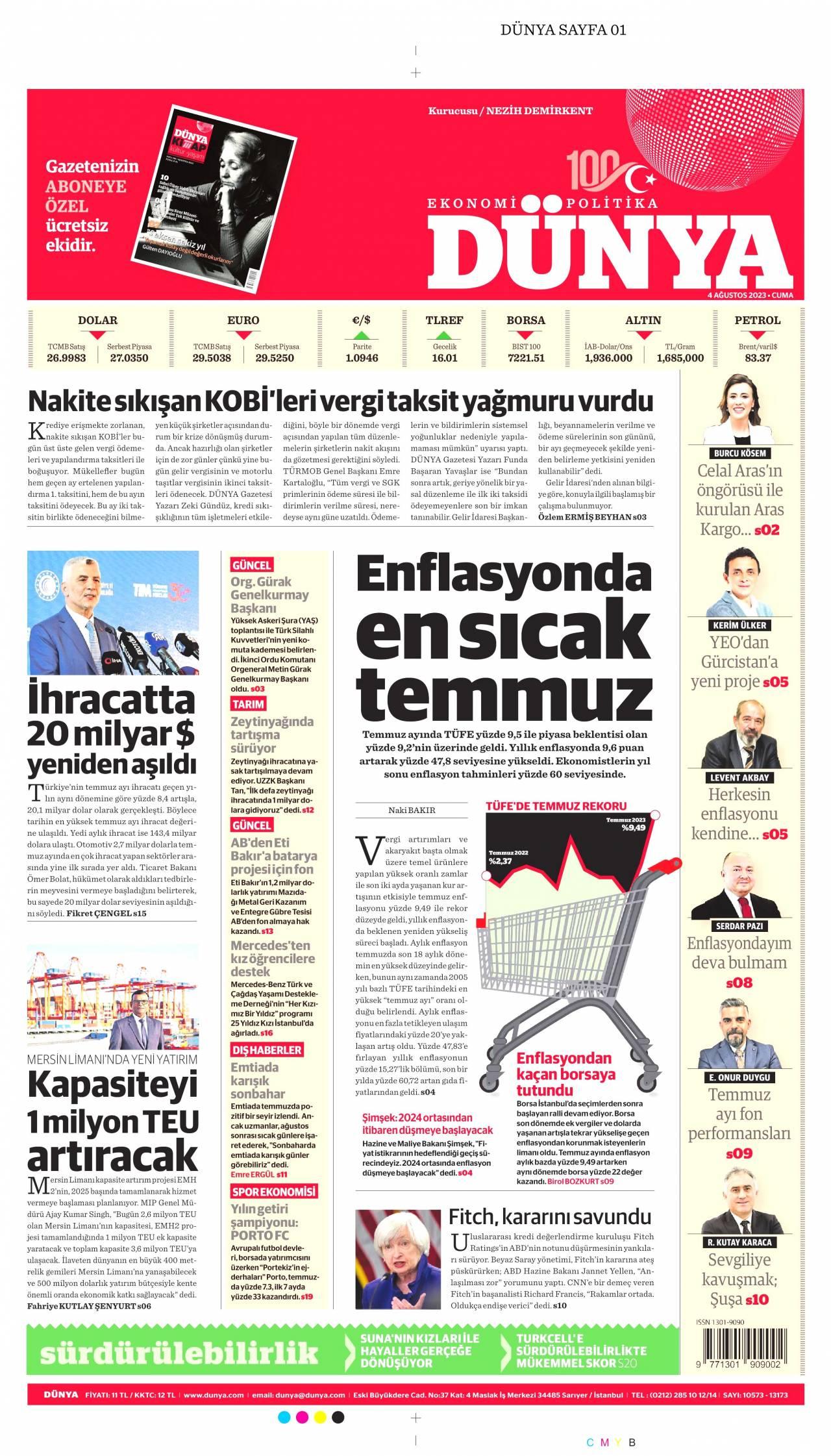 19 Şubat 2020, Çarşamba dunya Gazetesi