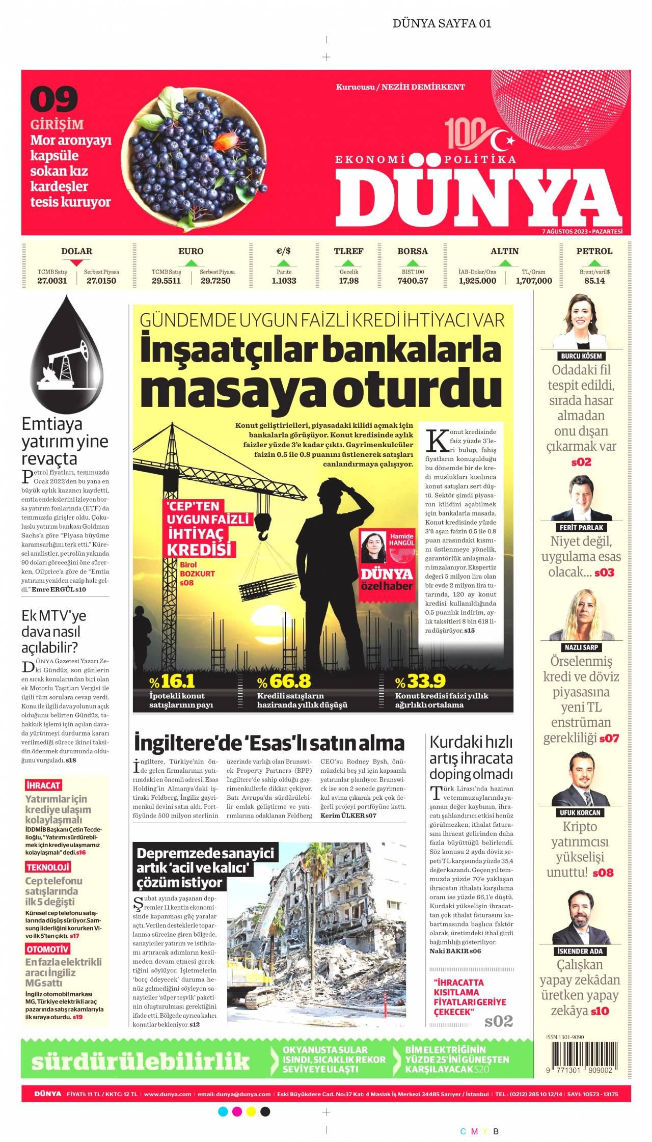 20 Mayıs 2019, Pazartesi dunya Gazetesi
