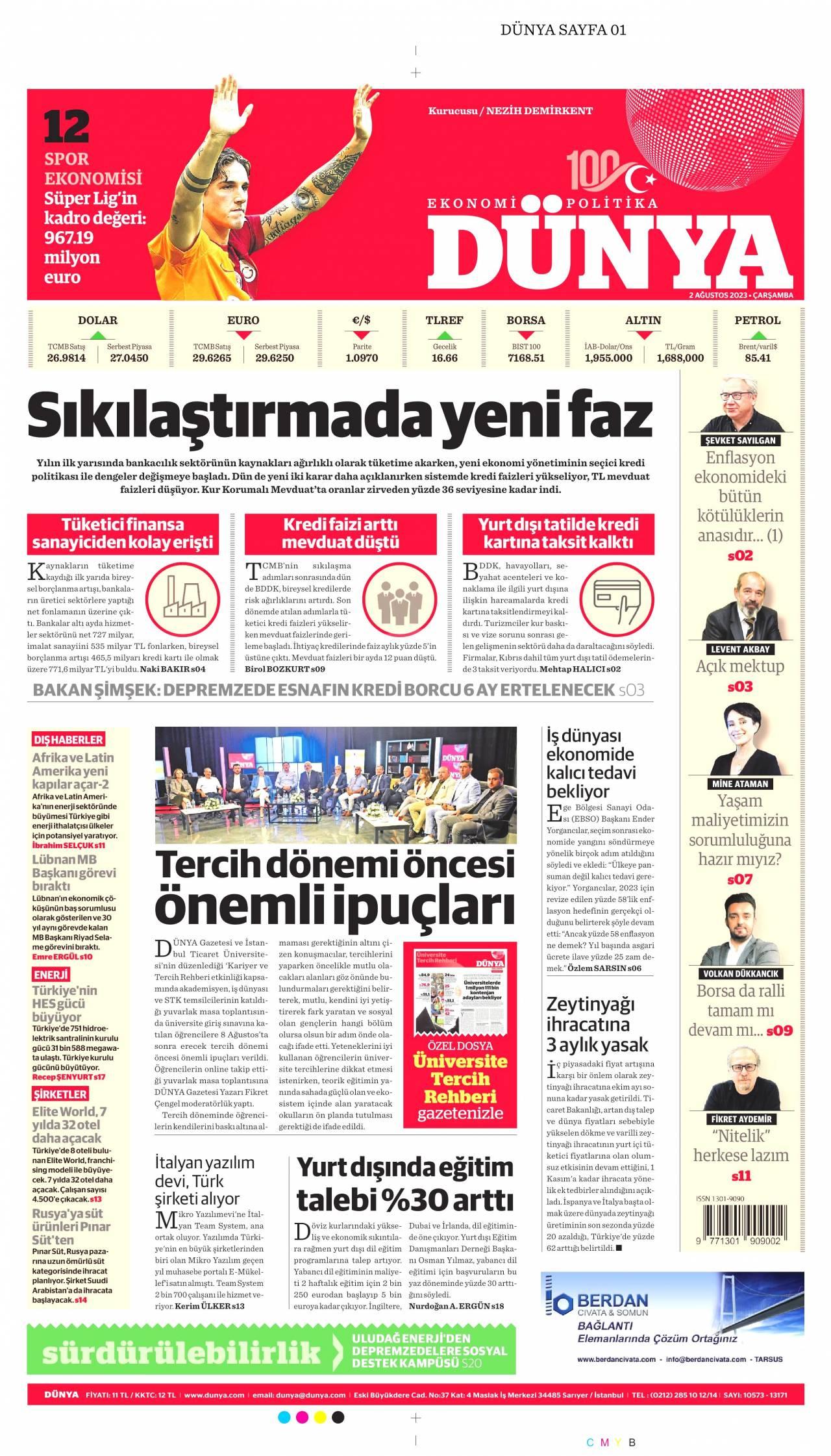 23 Eylül 2020, Çarşamba dunya Gazetesi