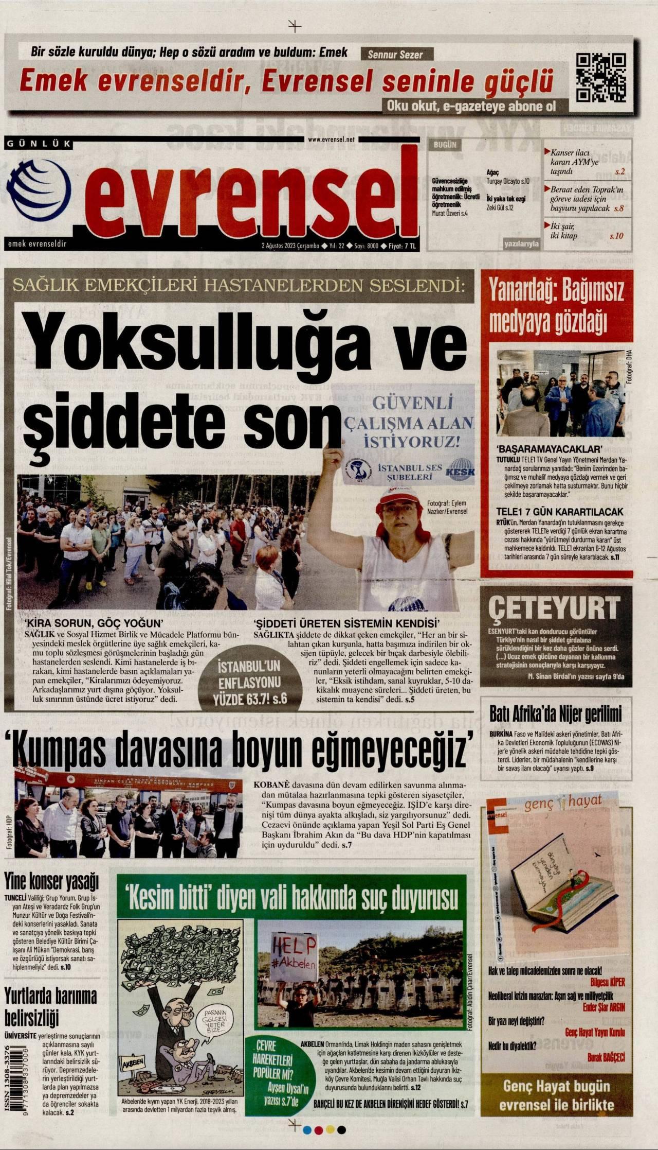 12 Ağustos 2020, Çarşamba evrensel Gazetesi