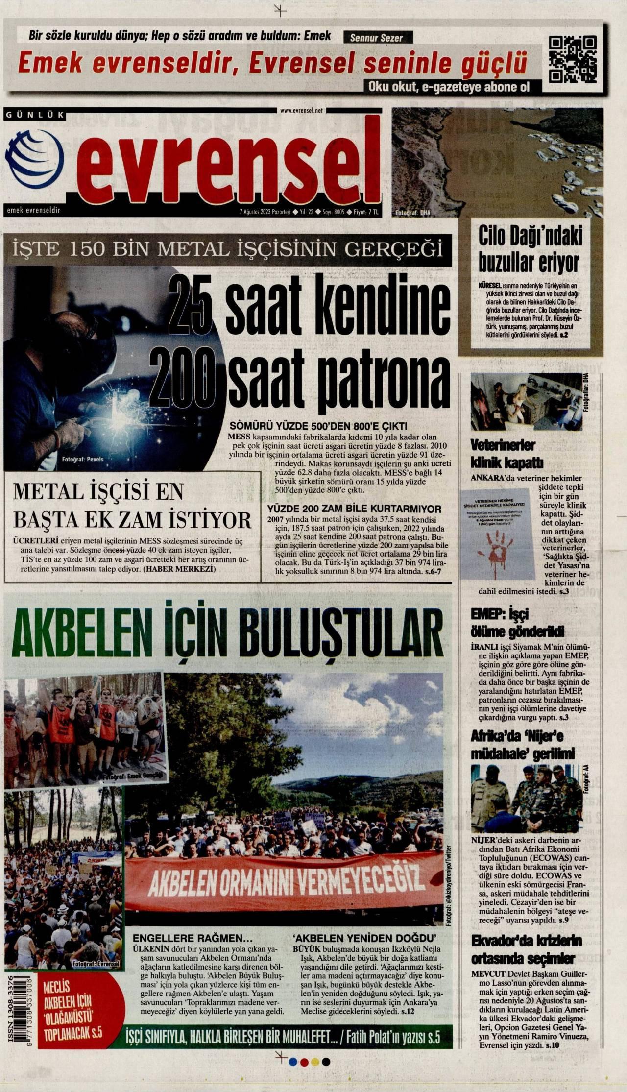 19 Şubat 2020, Çarşamba evrensel Gazetesi