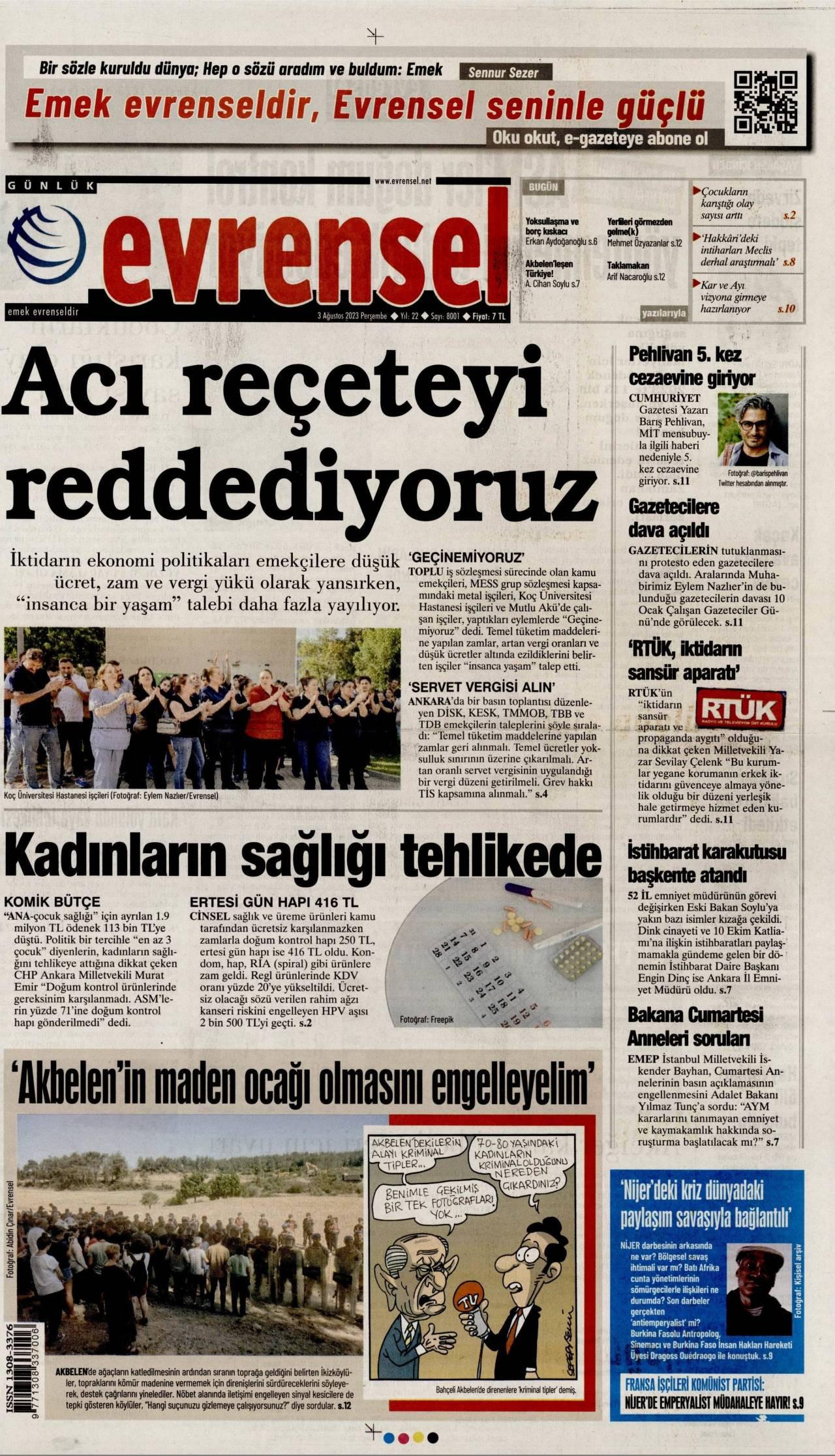 26 Mart 2019, Salı evrensel Gazetesi