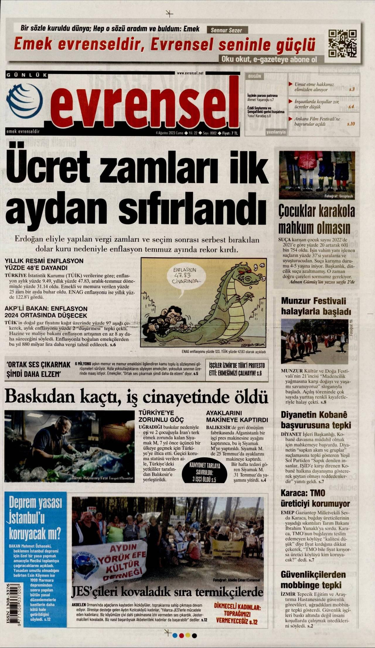 23 Eylül 2020, Çarşamba evrensel Gazetesi