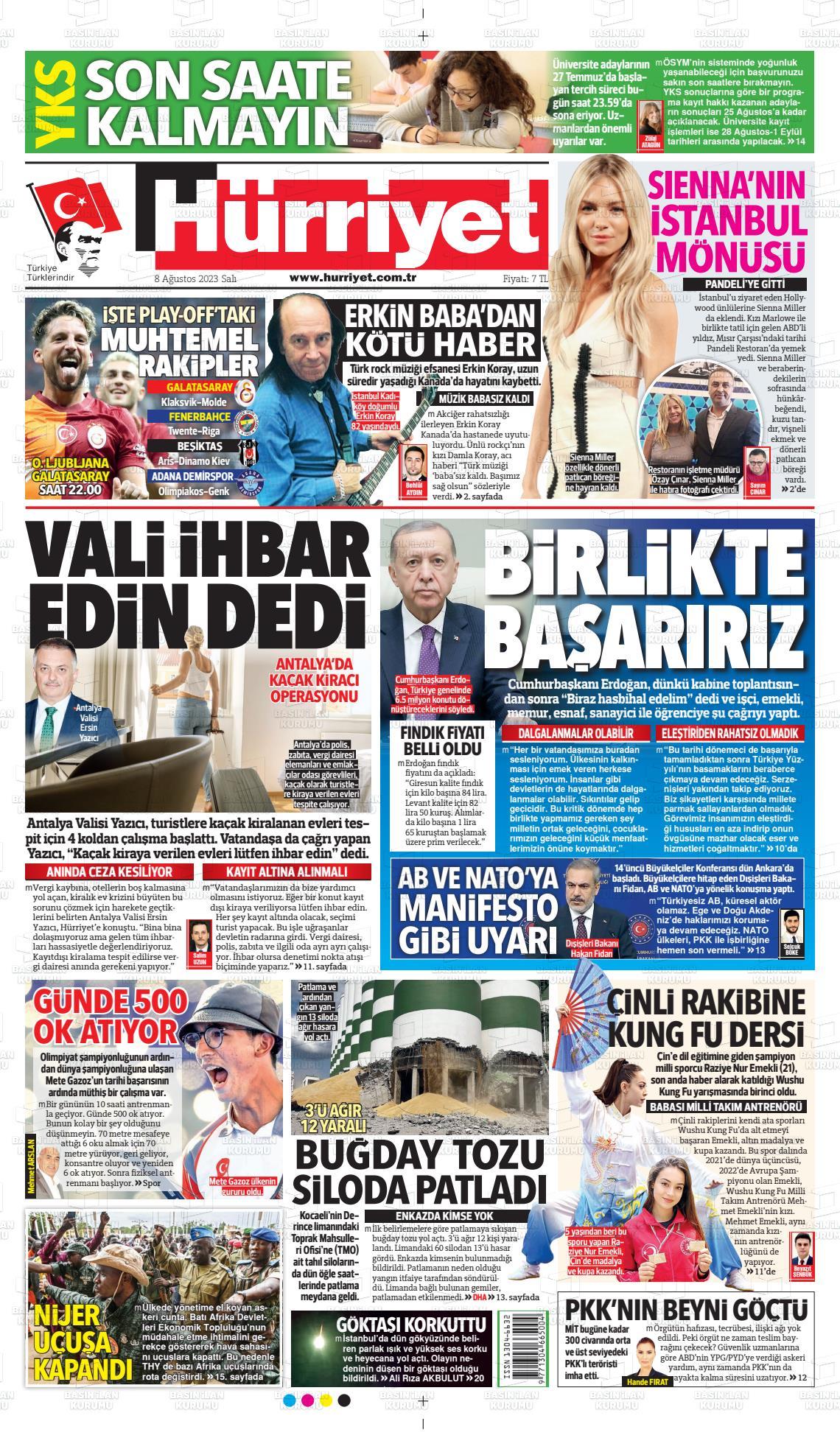 12 Ağustos 2020, Çarşamba hurriyet Gazetesi
