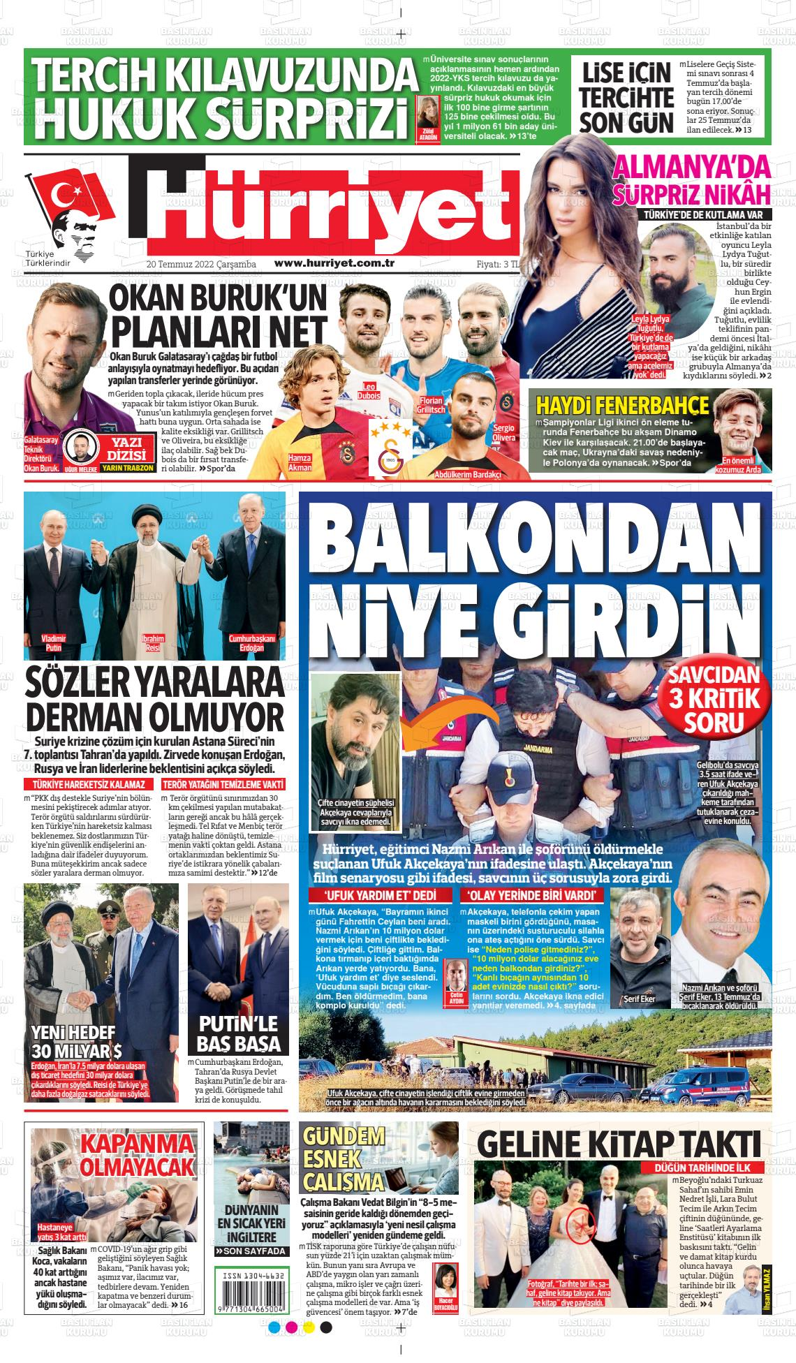 19 Şubat 2020, Çarşamba hurriyet Gazetesi