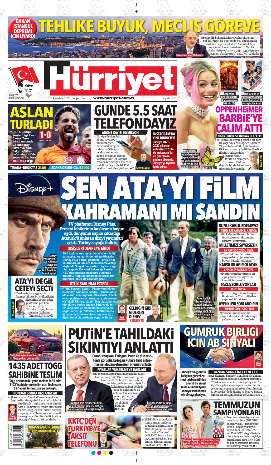 20 Ocak 2019, Pazar hurriyet Gazetesi