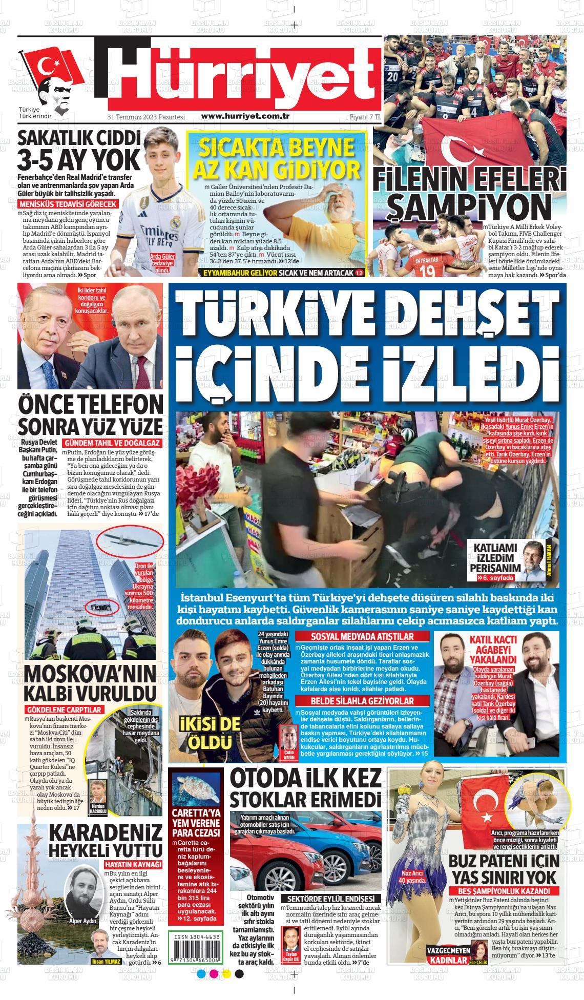 25 Ocak 2020, Cumartesi hurriyet Gazetesi