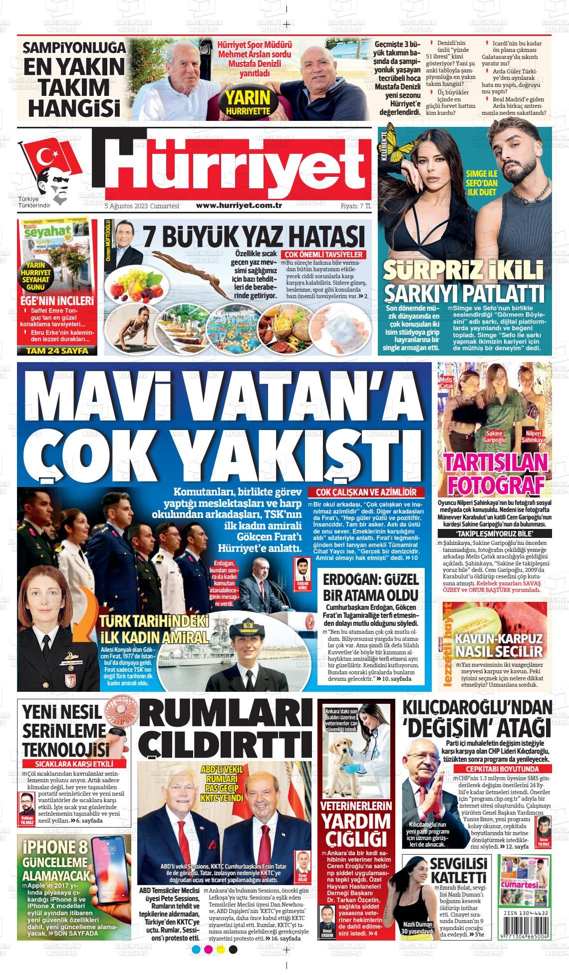20 Temmuz 2019, Cumartesi hurriyet Gazetesi