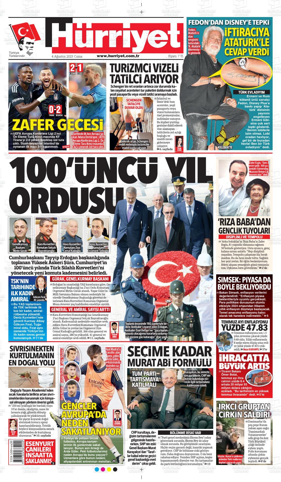 23 Eylül 2020, Çarşamba hurriyet Gazetesi
