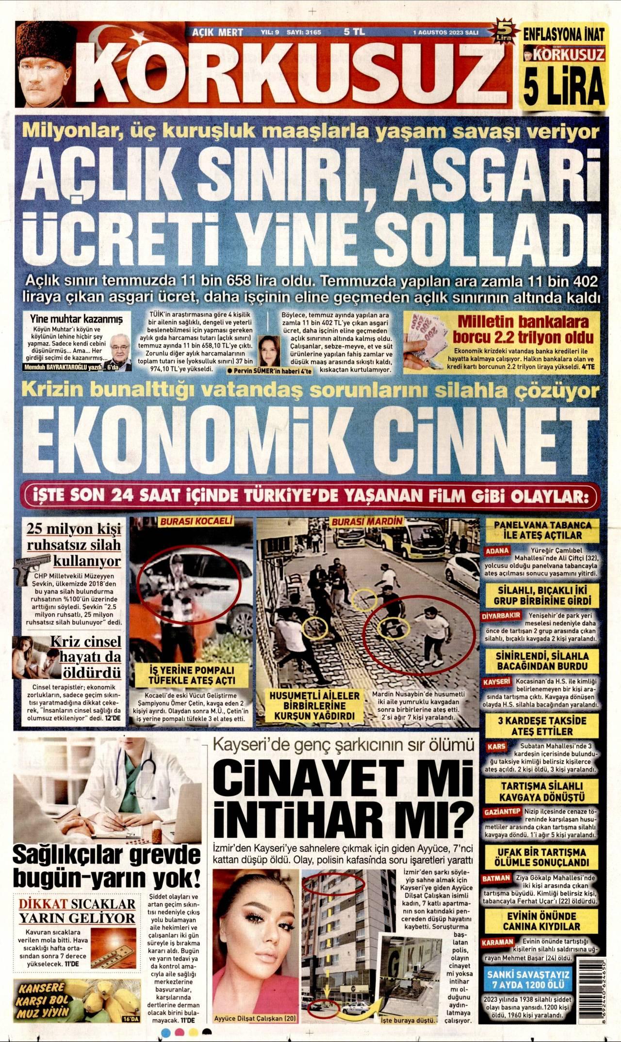 17.01.2018 tarihli Korkusuz gazetesinin 1. sayfası
