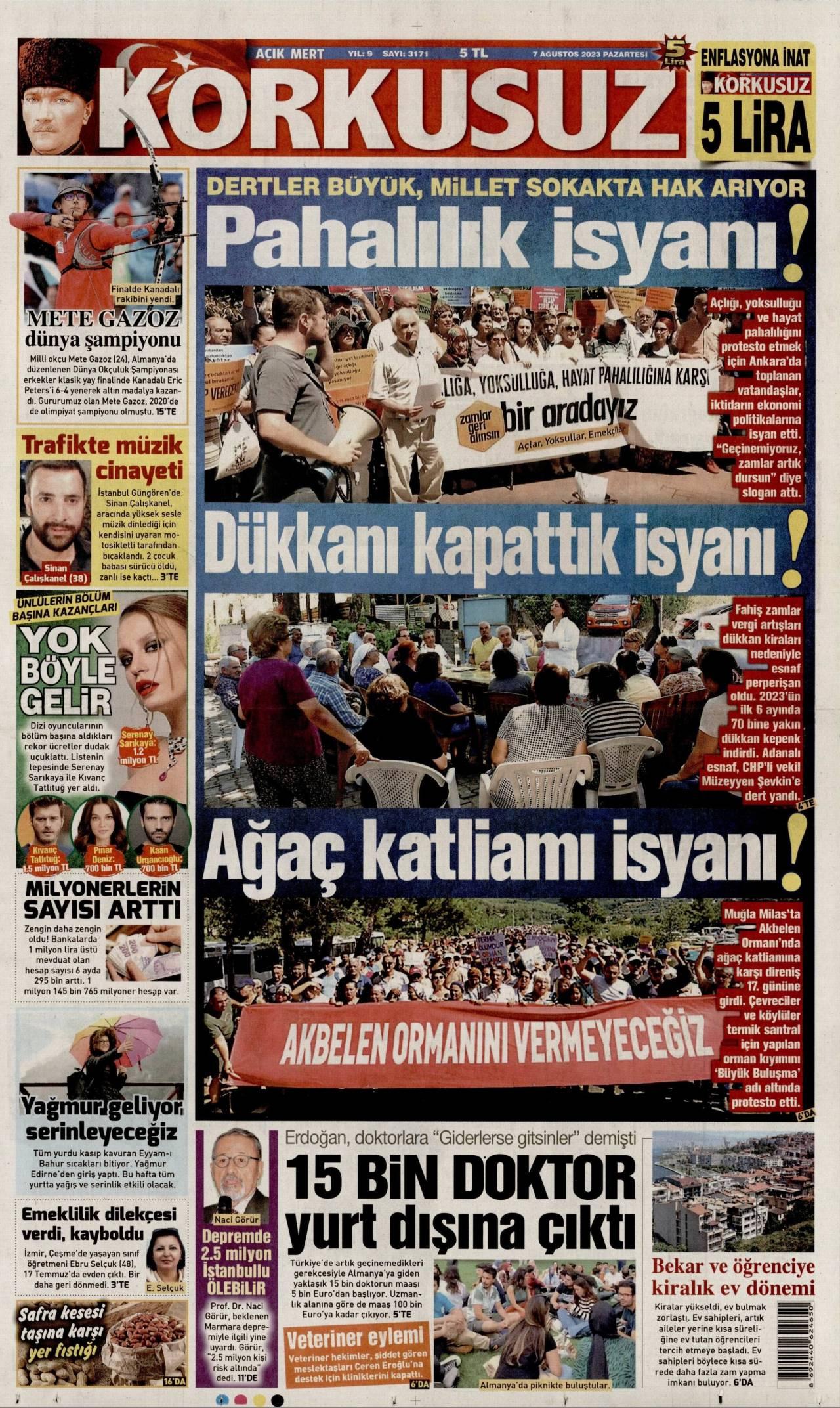 23.10.2017 tarihli Korkusuz gazetesinin 1. sayfası
