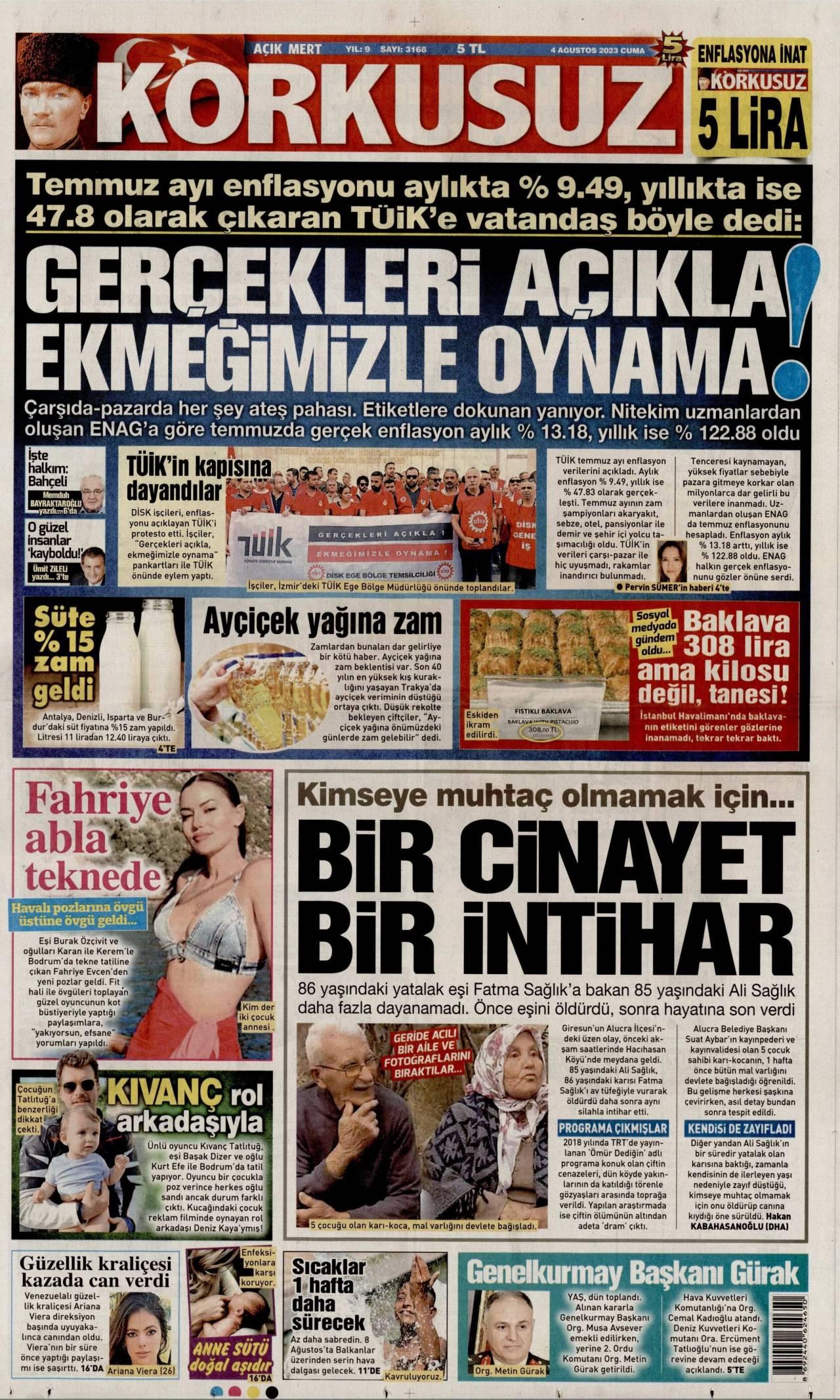 24.03.2017 tarihli Korkusuz gazetesinin 1. sayfası