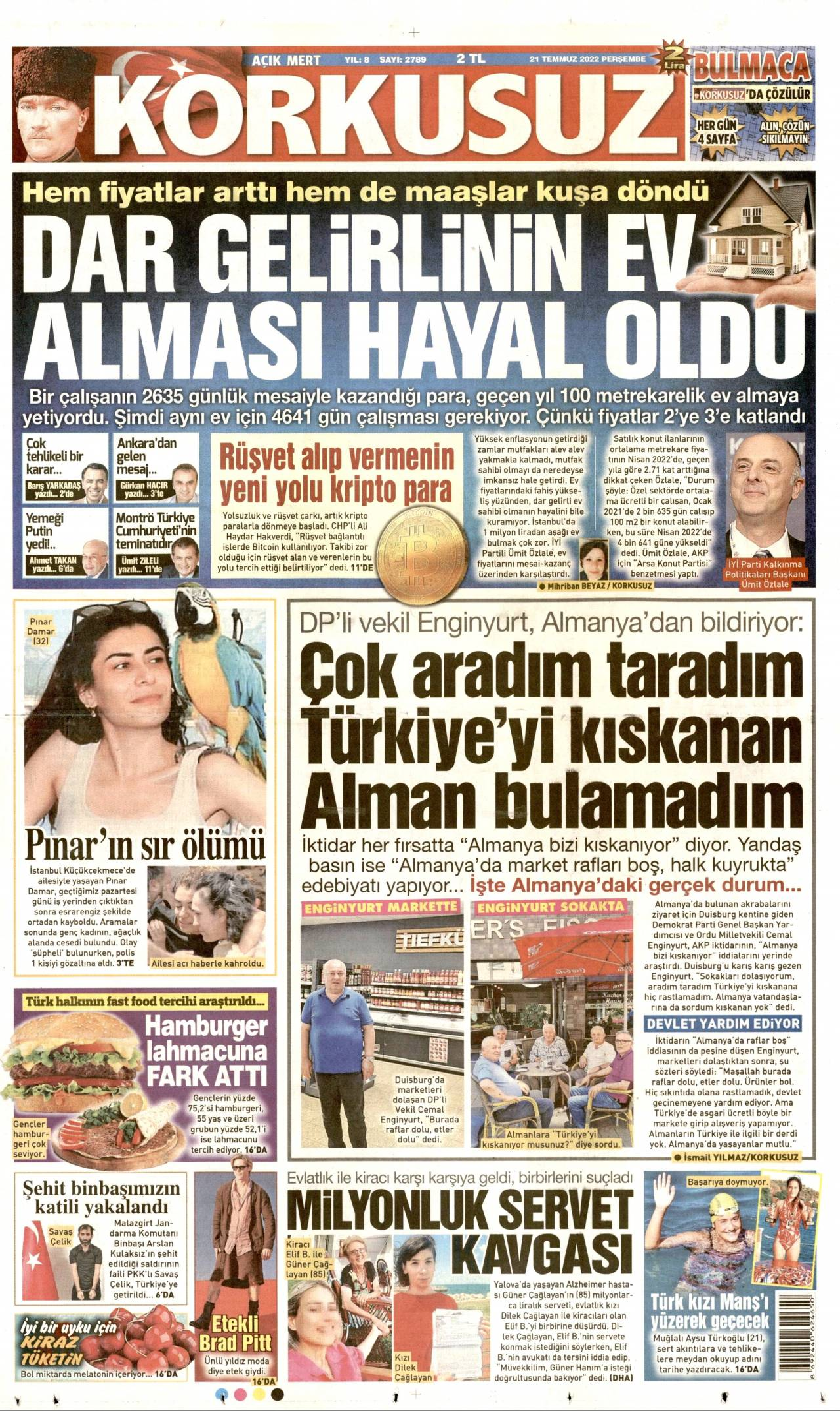 24.06.2017 tarihli Korkusuz gazetesinin 1. sayfası