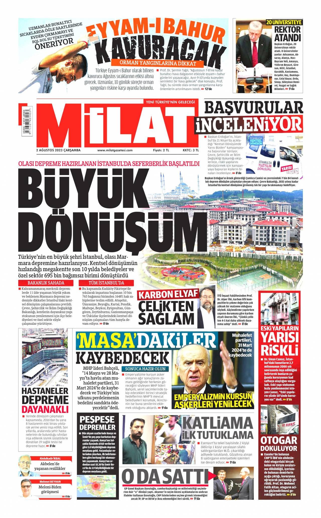 12 Ağustos 2020, Çarşamba milat Gazetesi