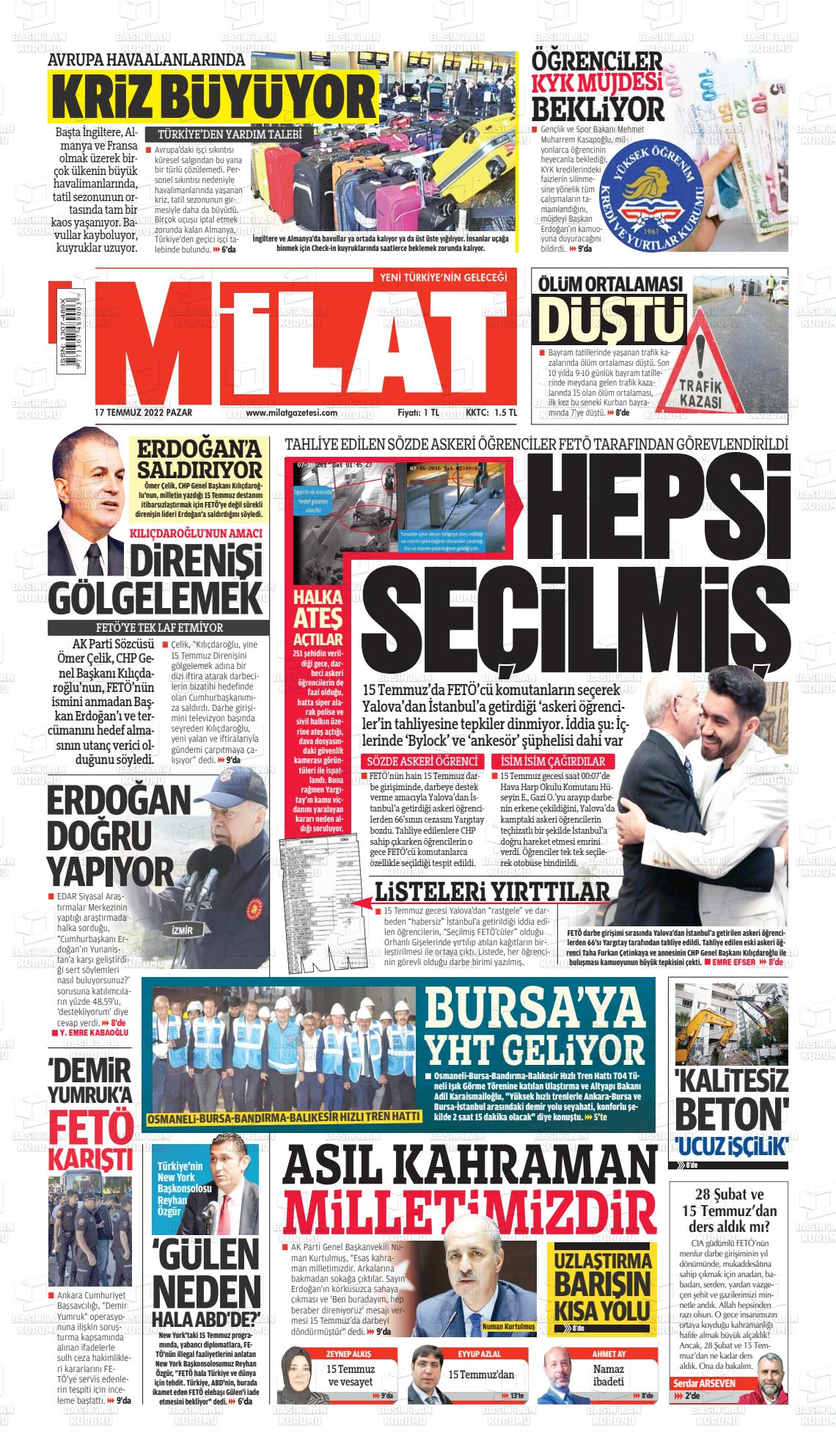 4 Haziran 2020, Perşembe milat Gazetesi