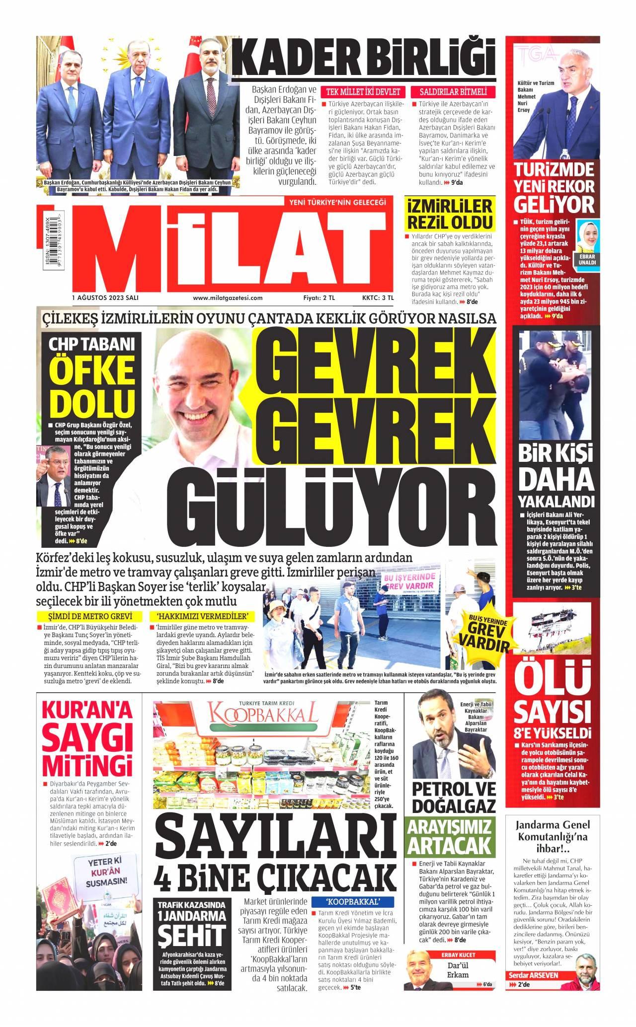 22 Kasım 2019, Cuma milat Gazetesi