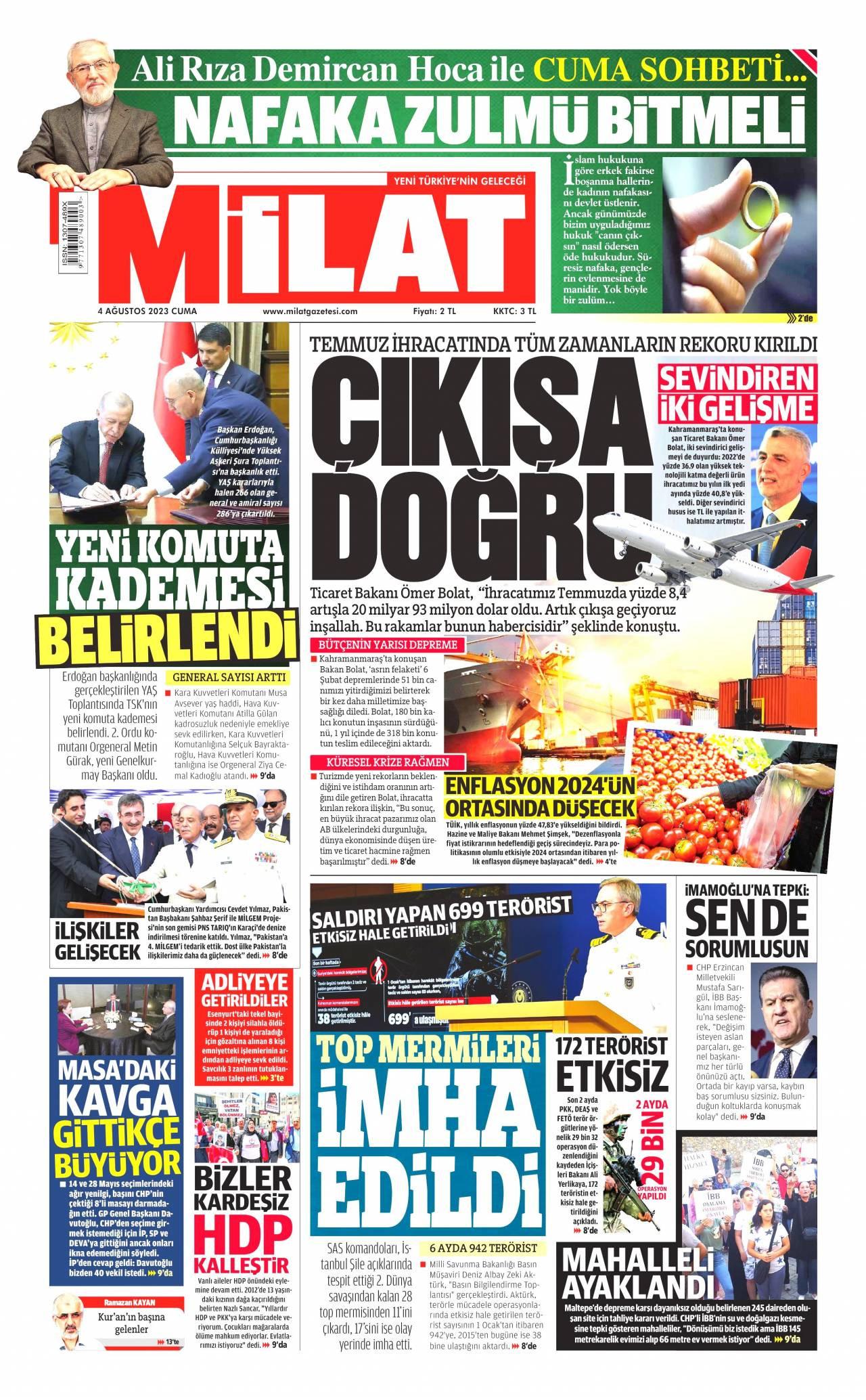 23 Ağustos 2019, Cuma milat Gazetesi
