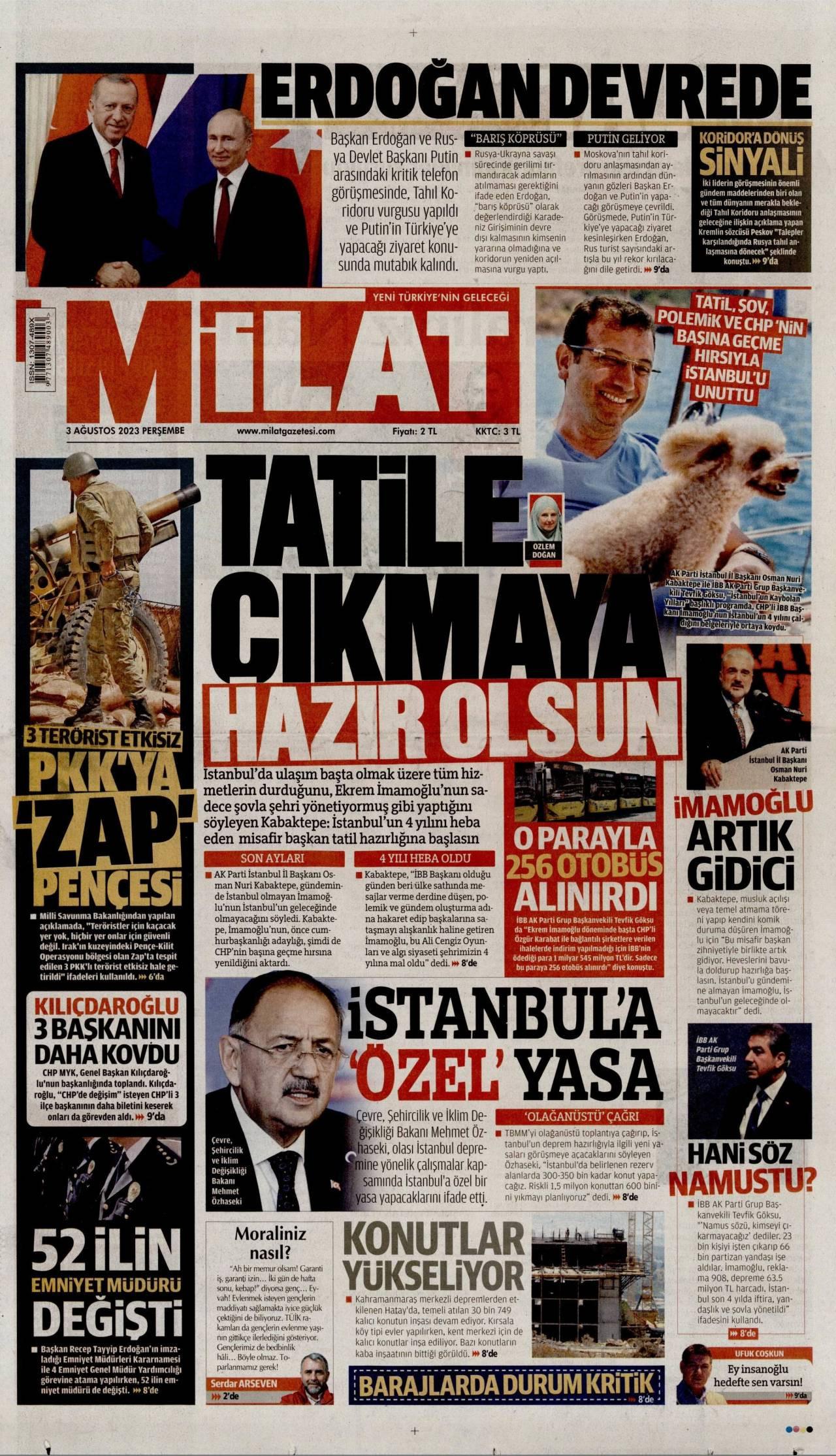 20 Temmuz 2019, Cumartesi milat Gazetesi