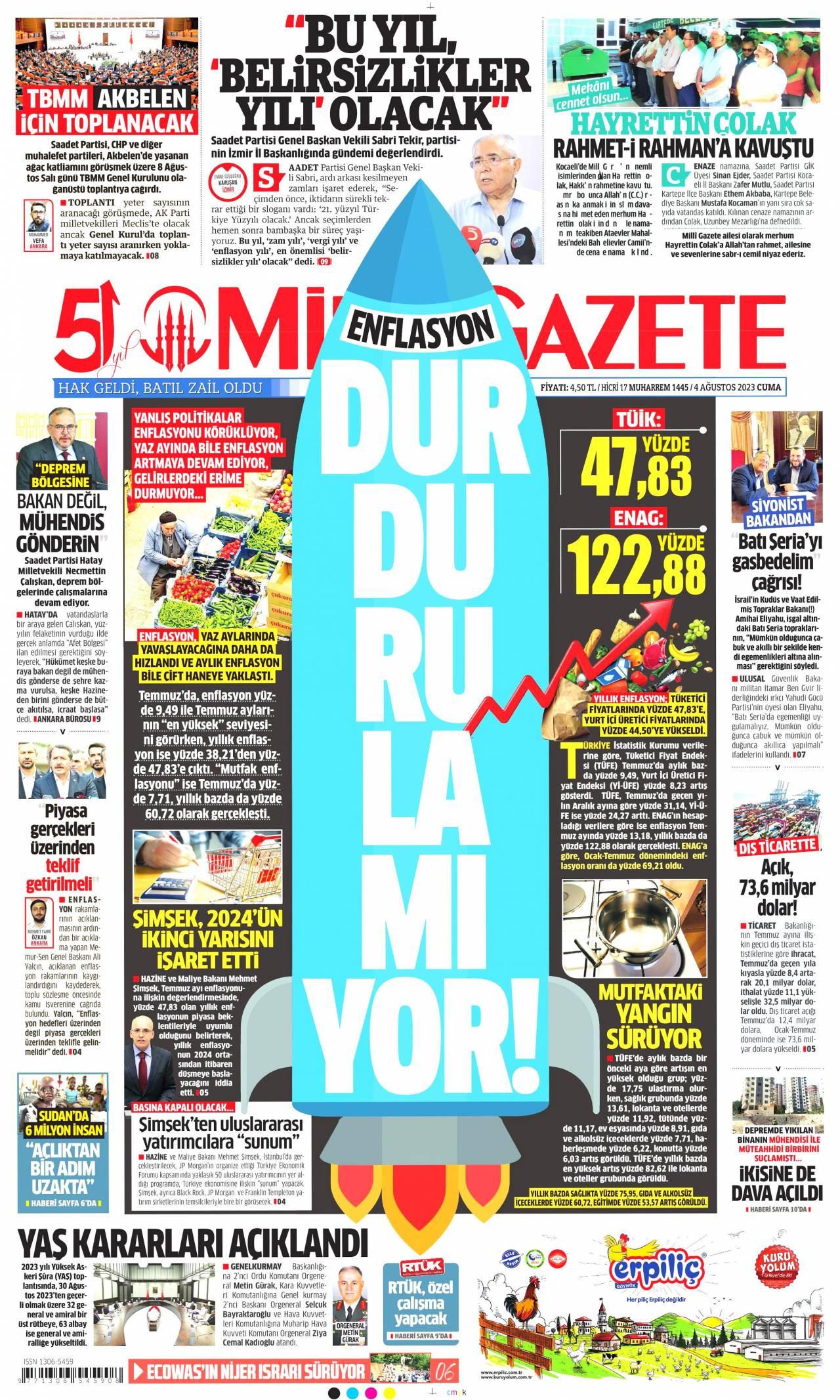 13.12.2017 tarihli Milli Gazete gazetesinin 1. sayfası