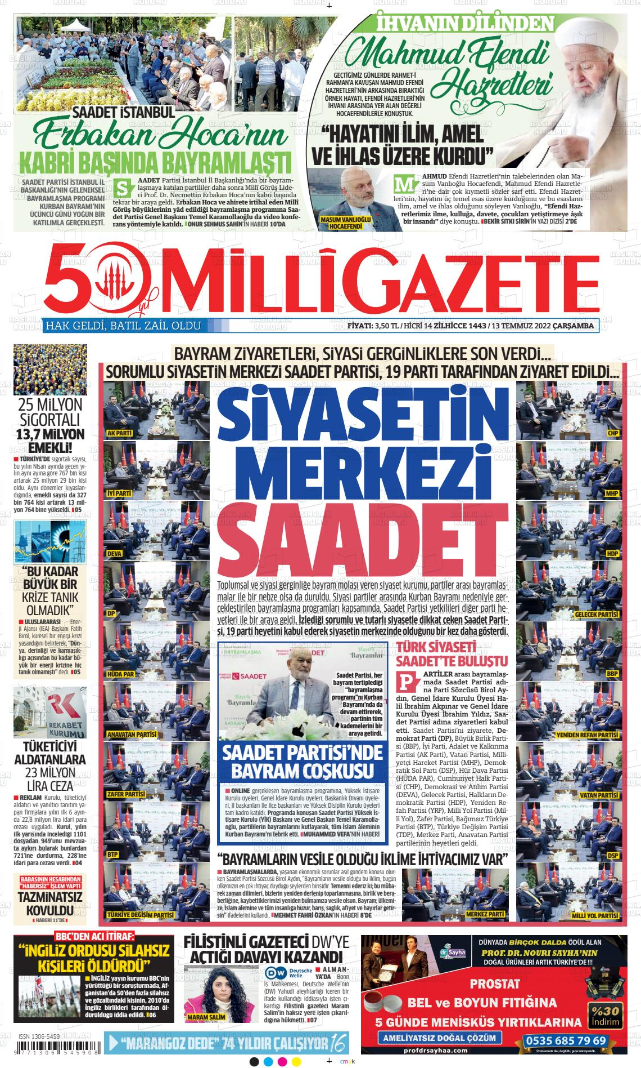 4 Haziran 2020, Perşembe milligazete Gazetesi