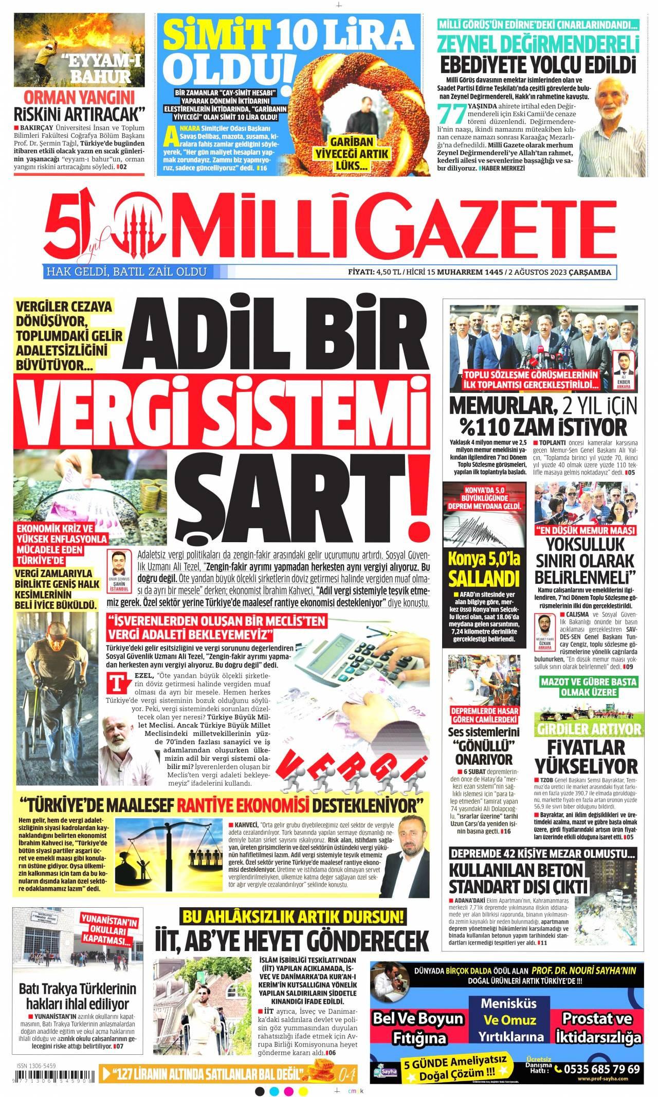 20 Temmuz 2019, Cumartesi milligazete Gazetesi
